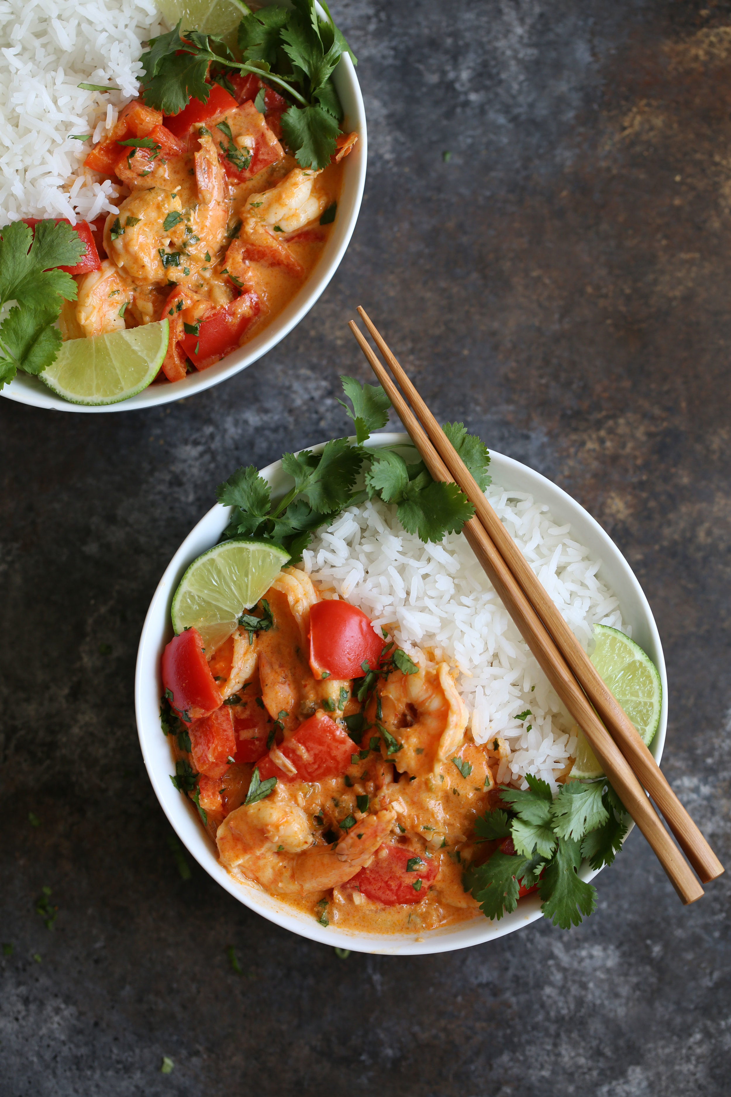 thai red curry shrimp and jasmine rice