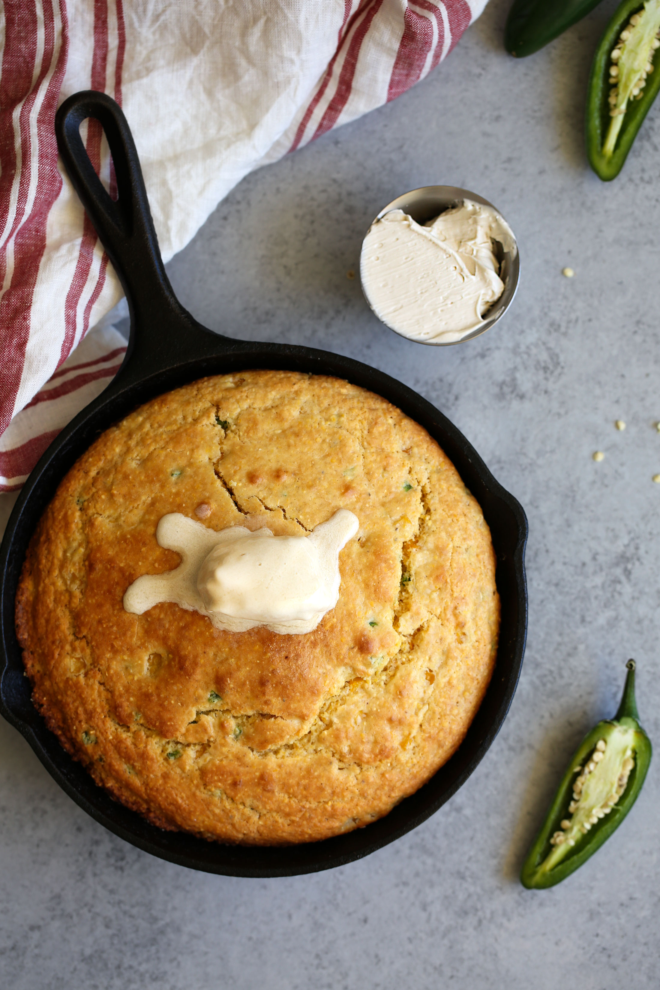 skillet jalapeno cornbread with whipped maple butter