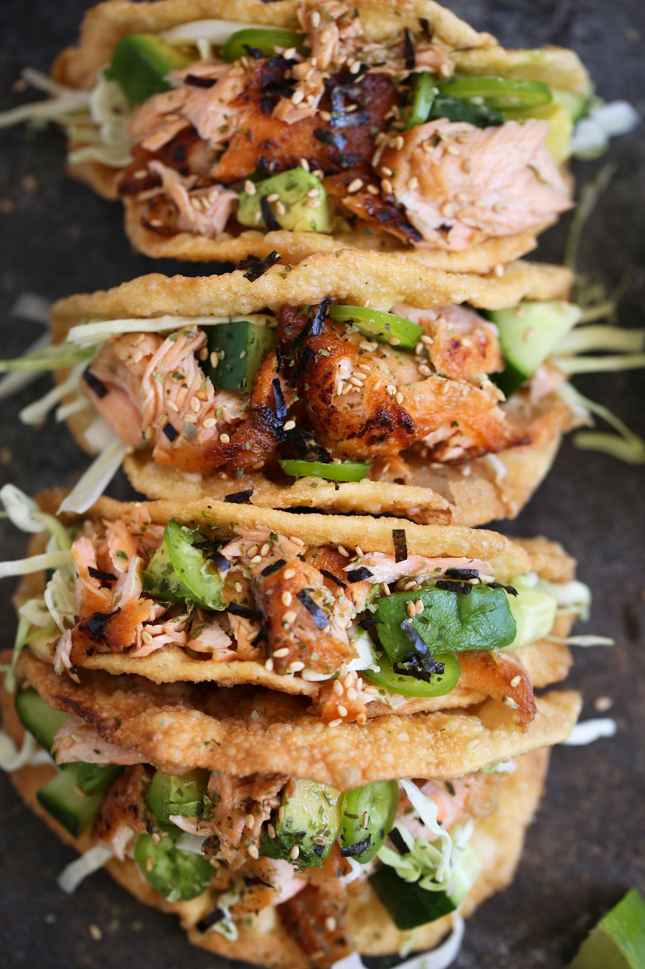 ponzu salmon wonton tacos closeup