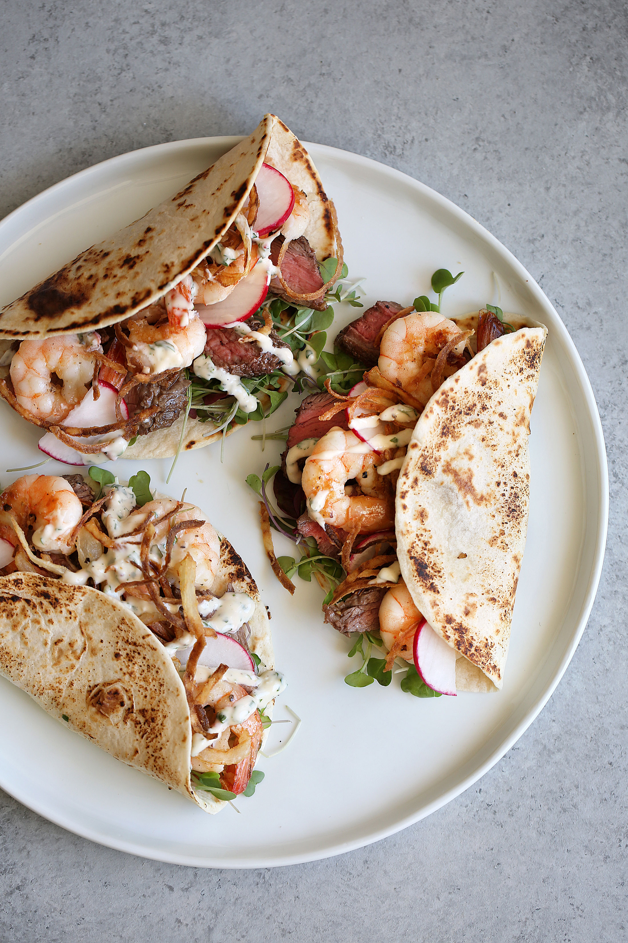 surf and turf tacos with chimmichurri aioli