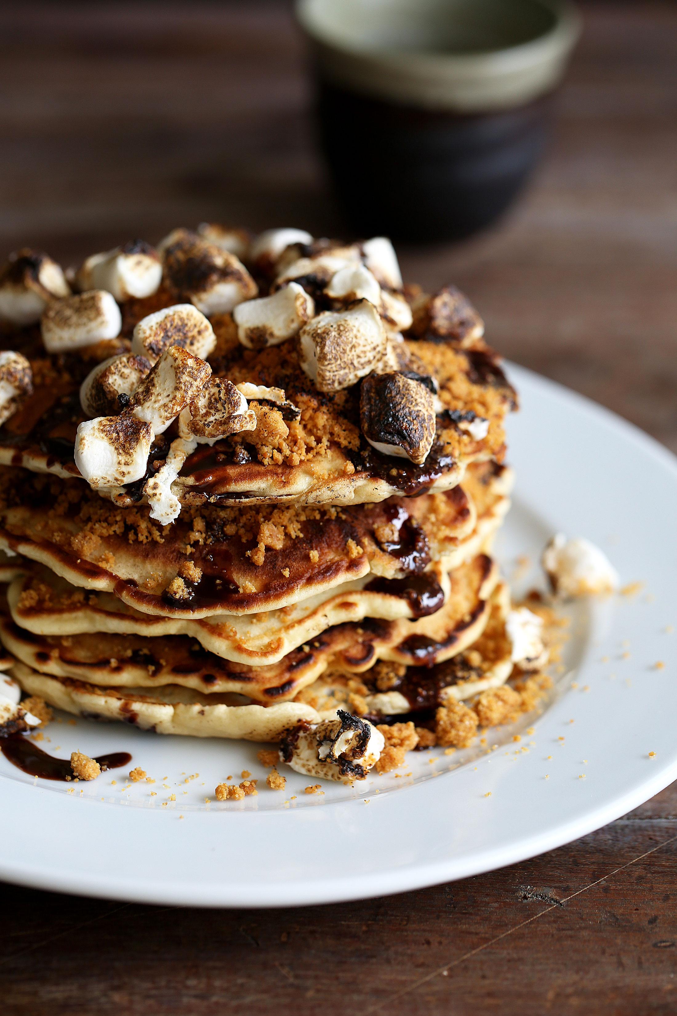 smores pancake stack