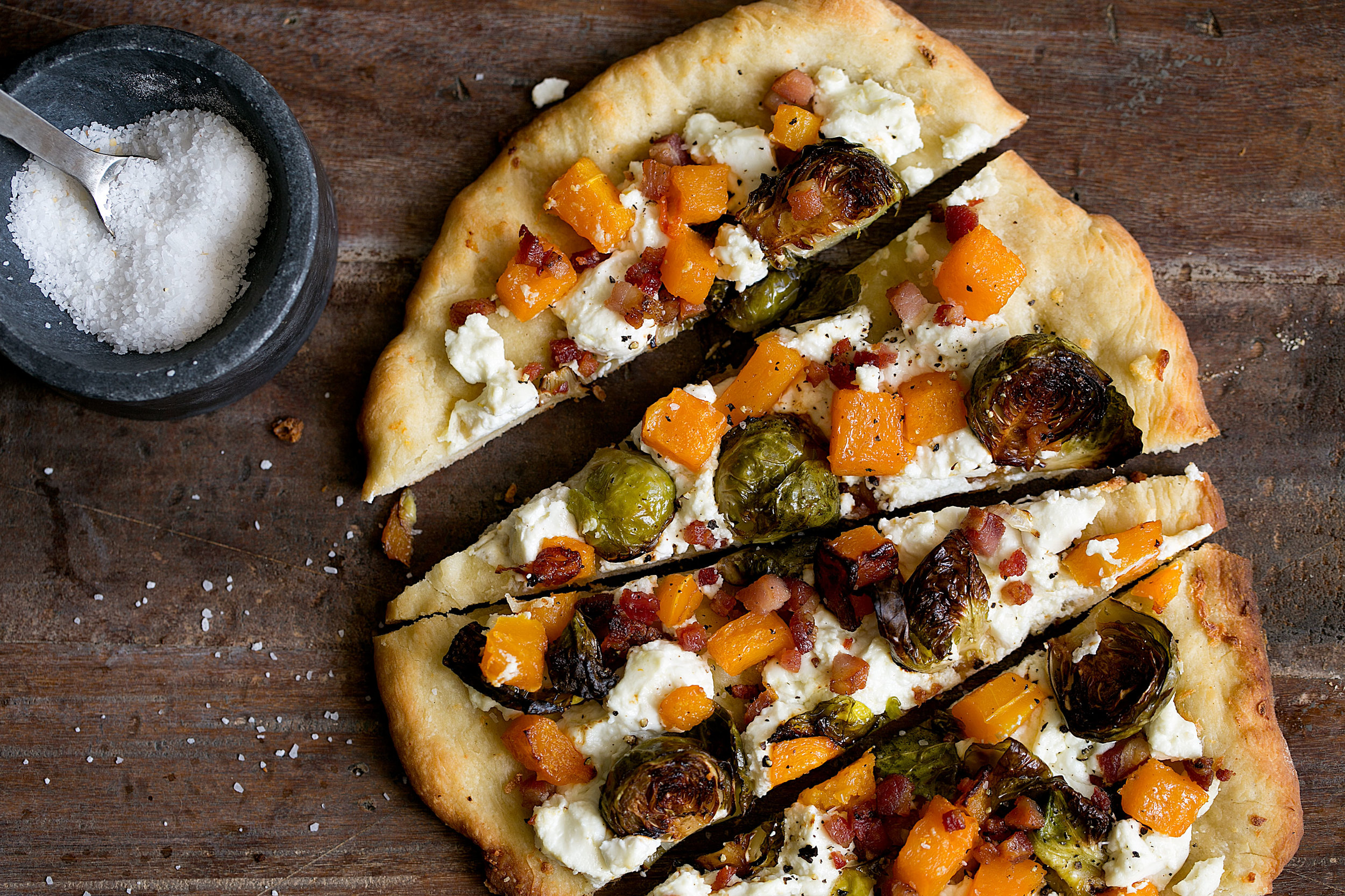 roasted butternut squash and brussels sprout pizza