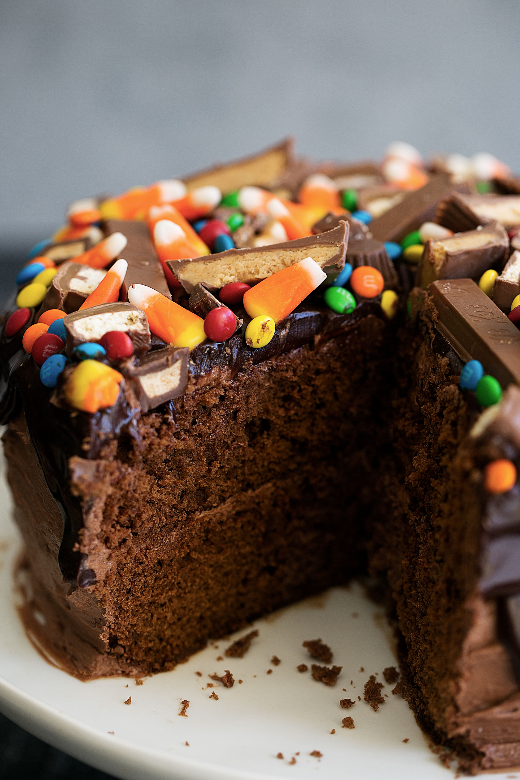 Chocolate Cake with Chocolate Ganache & Halloween Candy cut cake