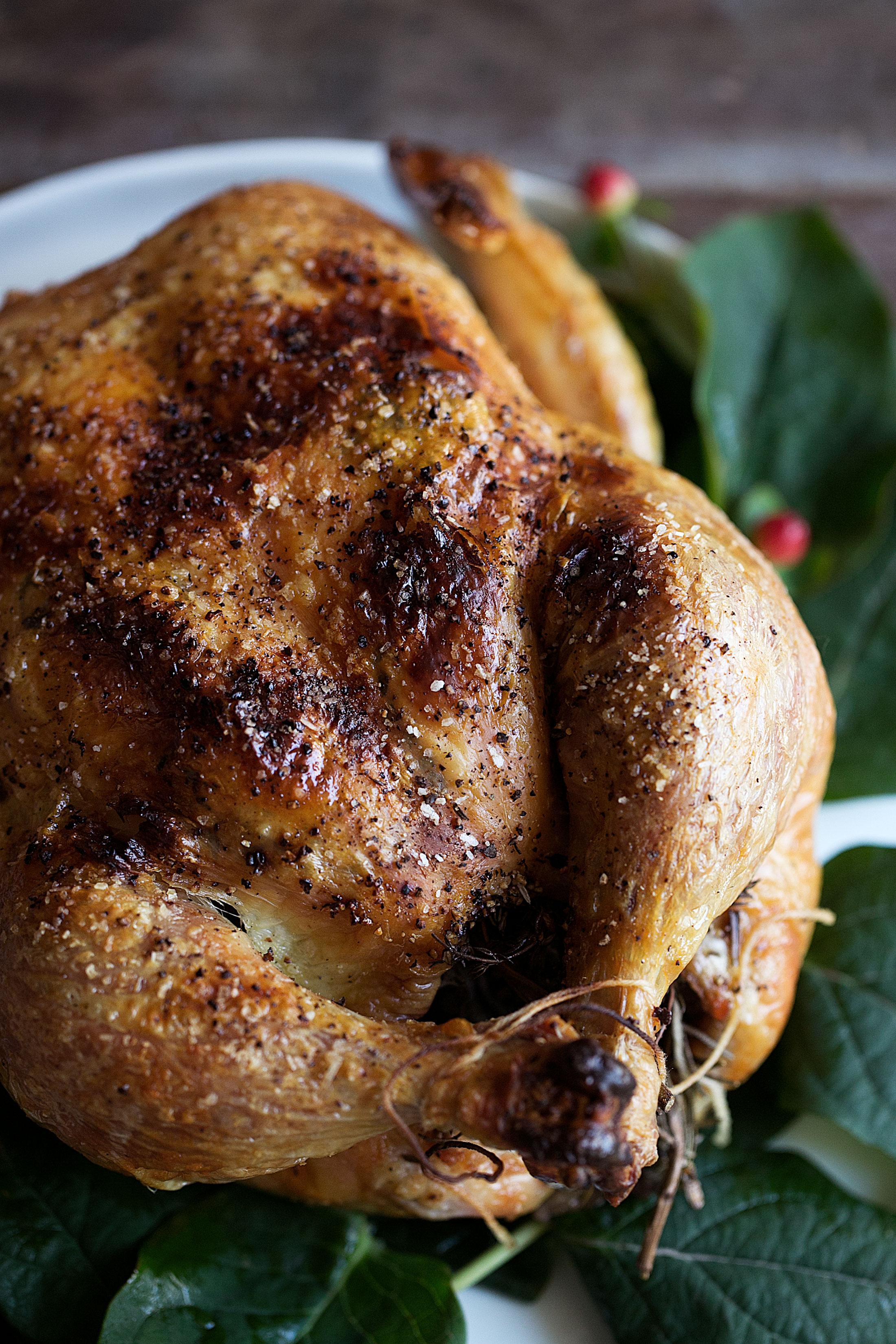 dry-brined roast herb chicken