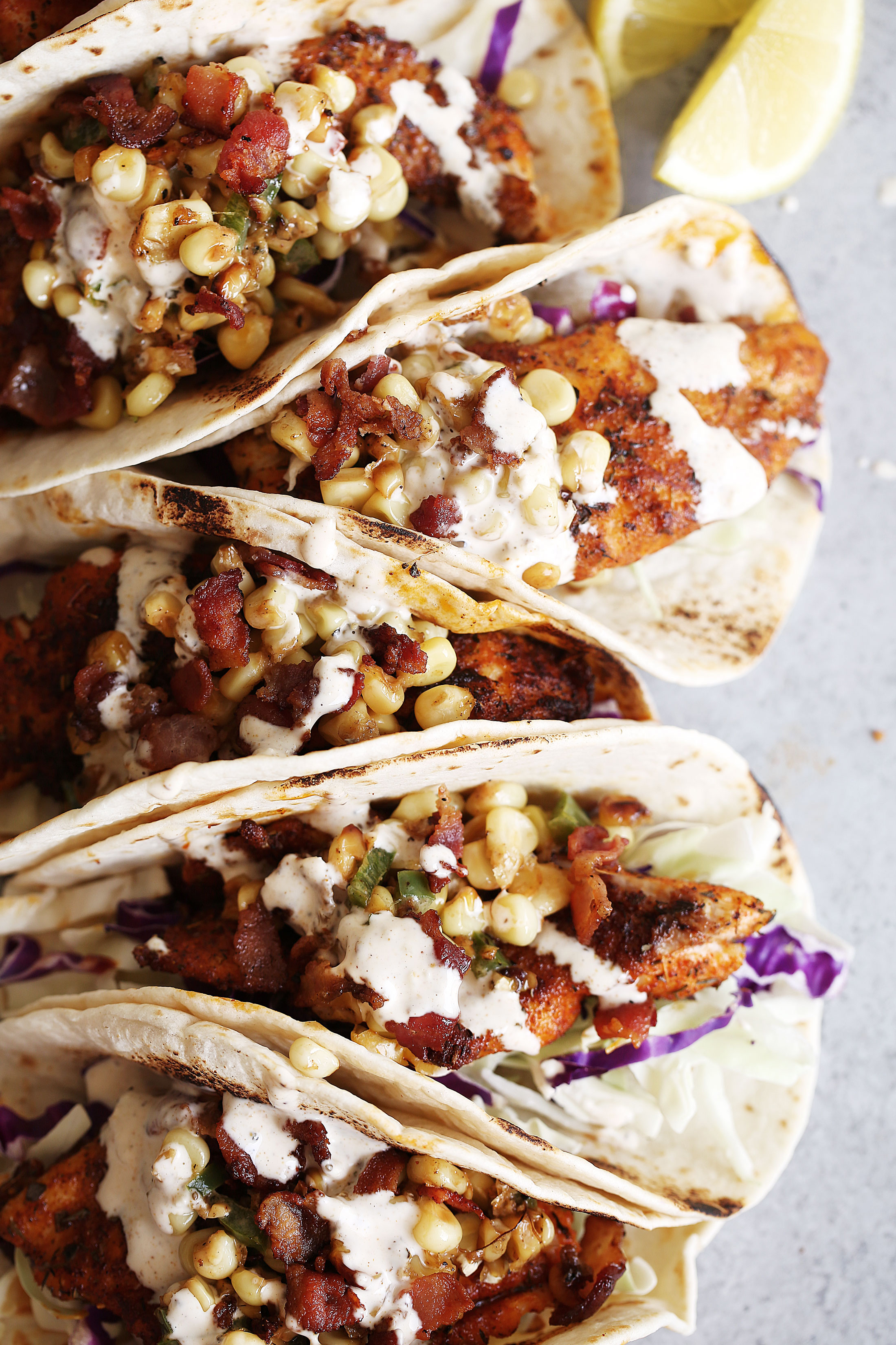 southern style blackened catfish tacos with fried corn and old bay aioli