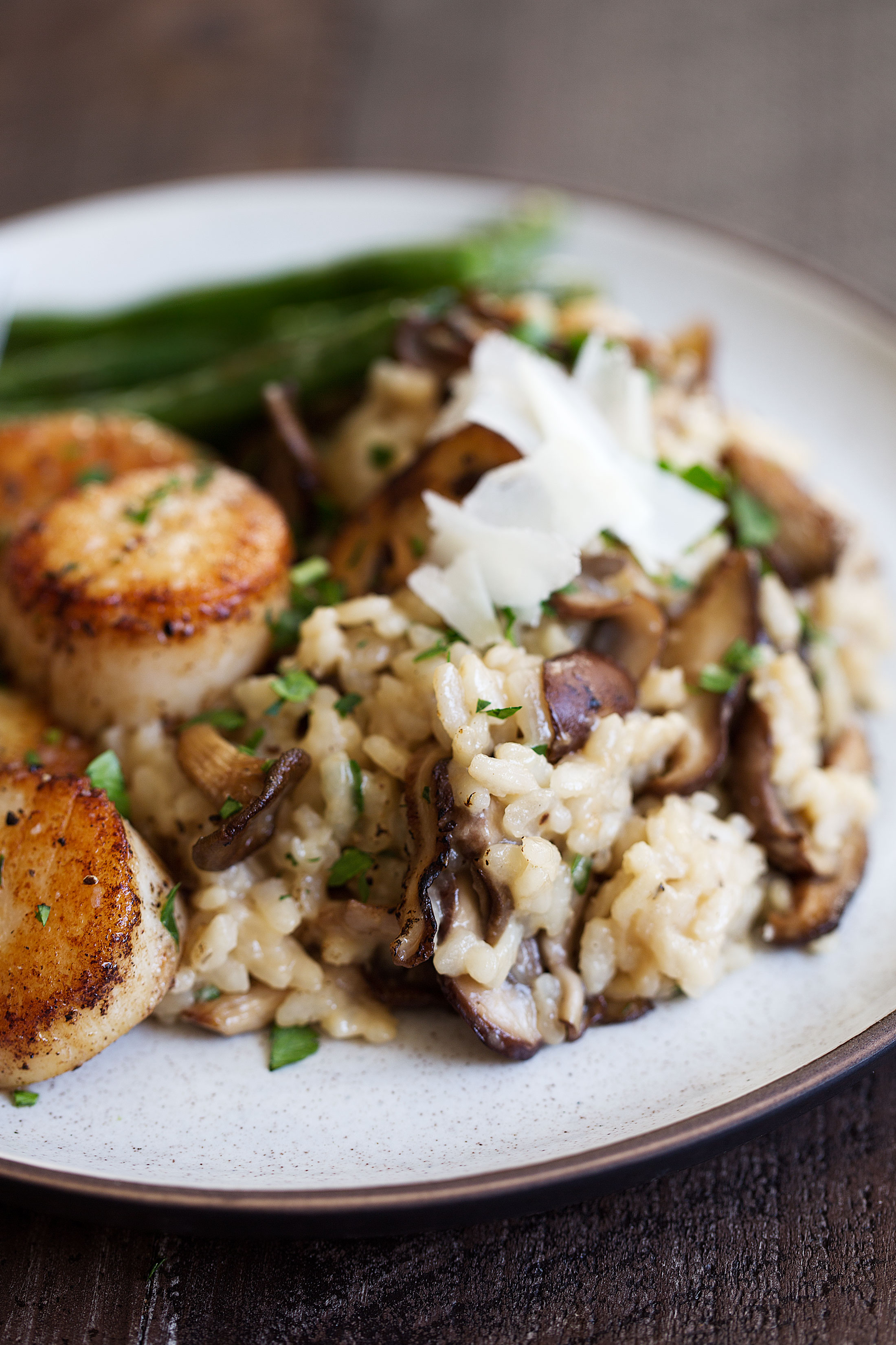 mixed mushroom risotto with scallops