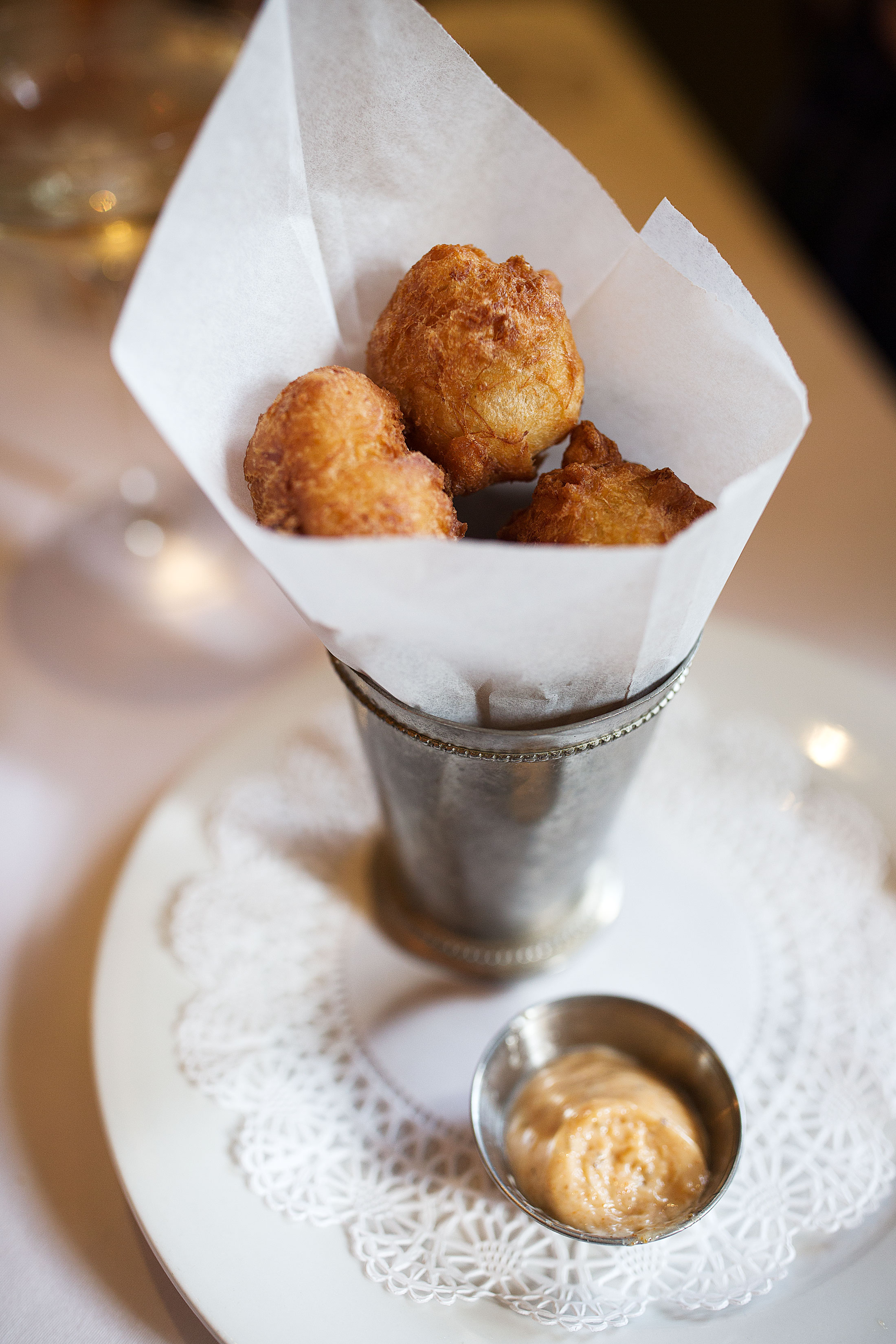 blue crab beignets with old bay aioli