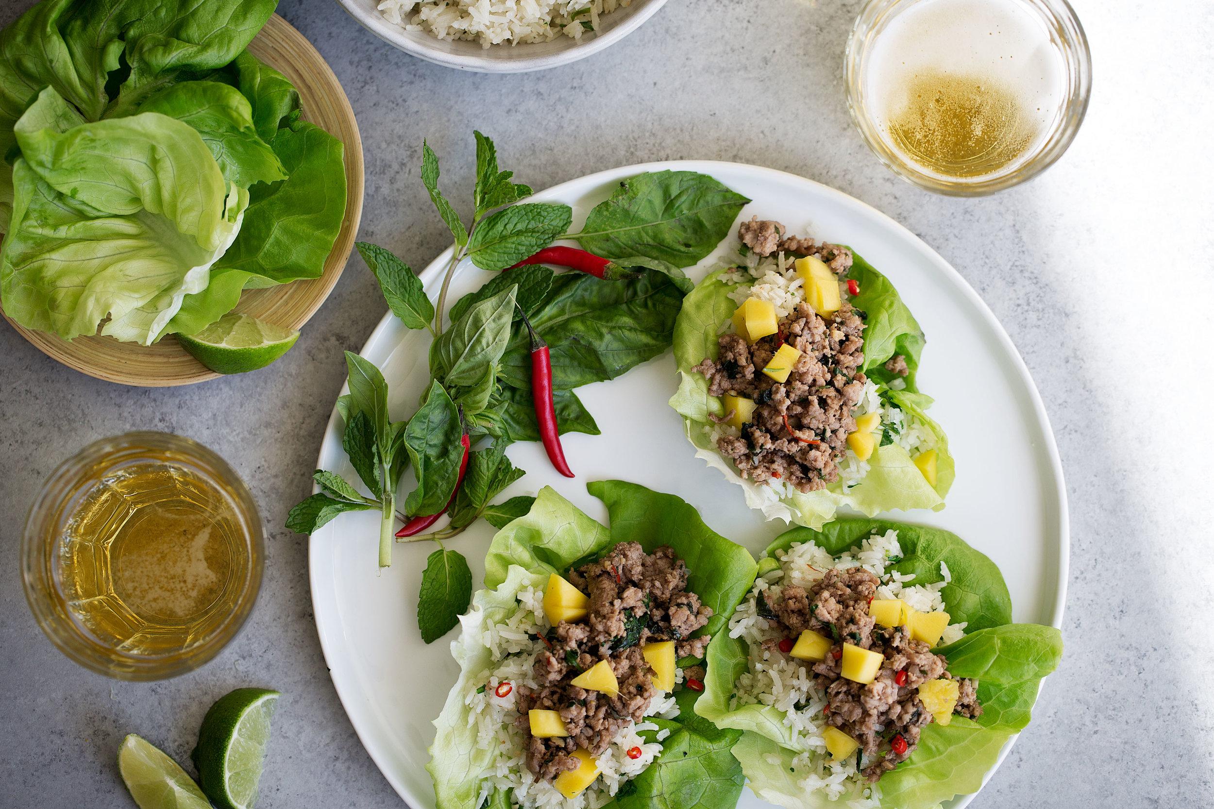 Thai Pork lettuce wraps with coconut fried rice