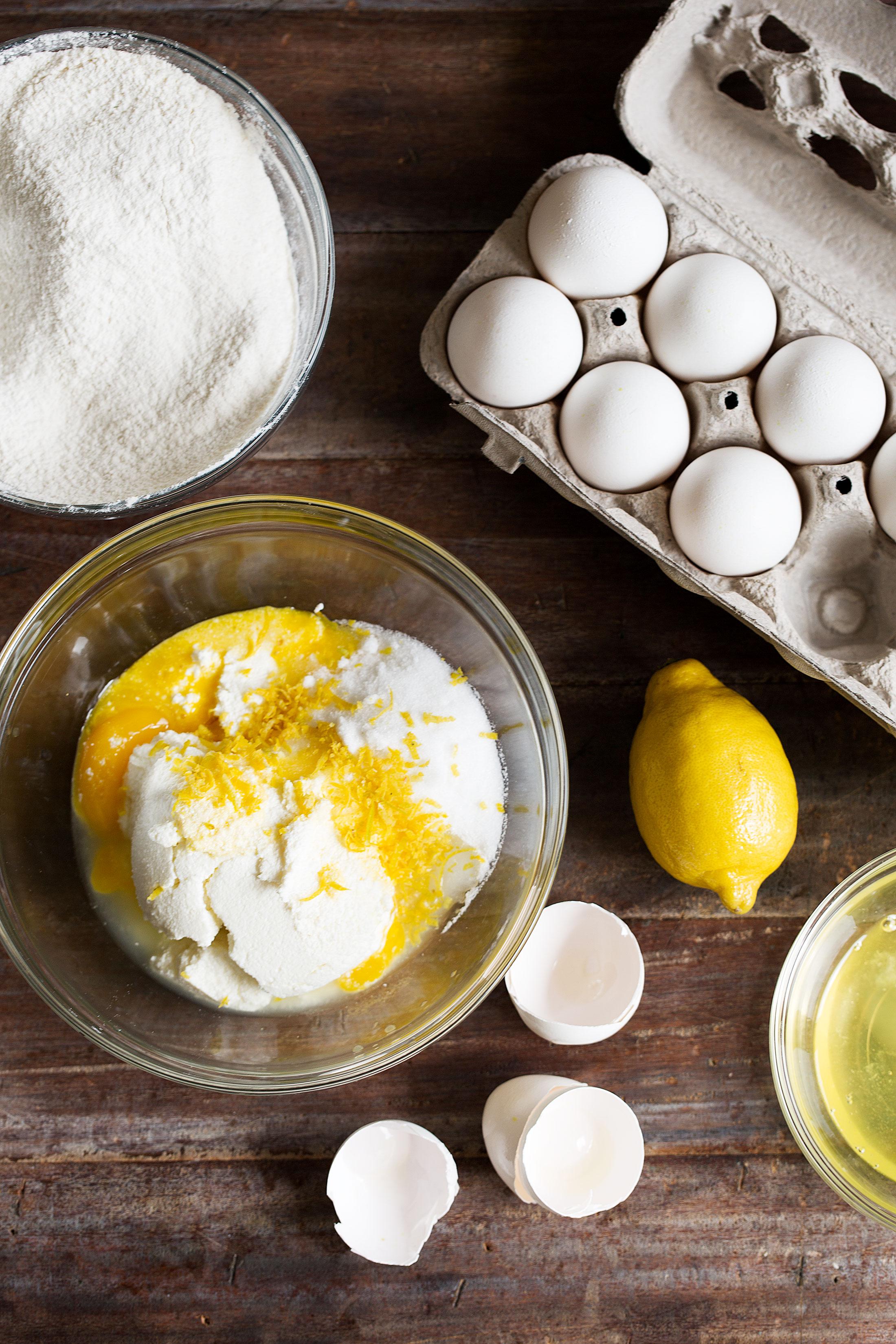 lemon ricotta pancakes ingredients laid out