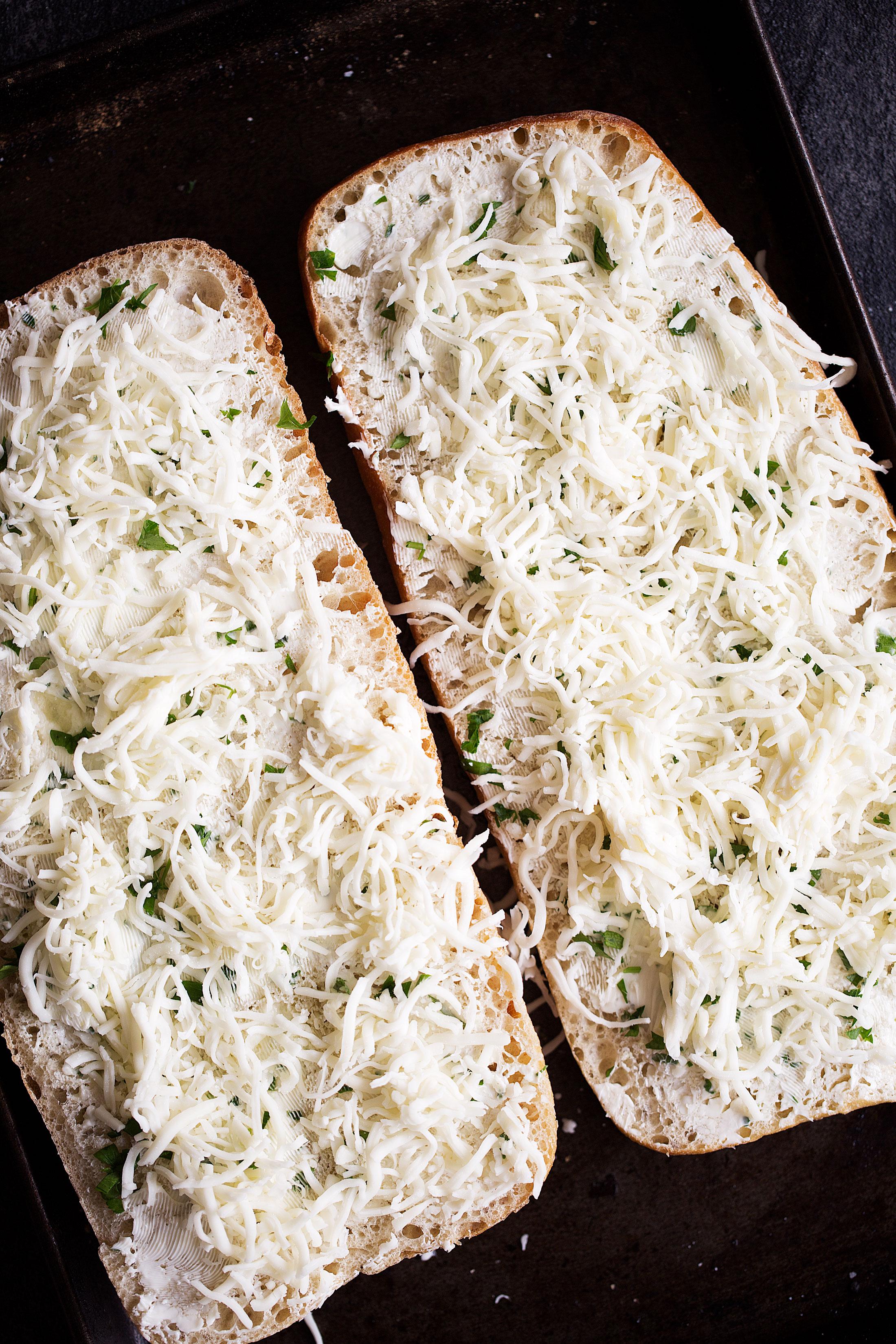 mozzarella cheese on garlic bread