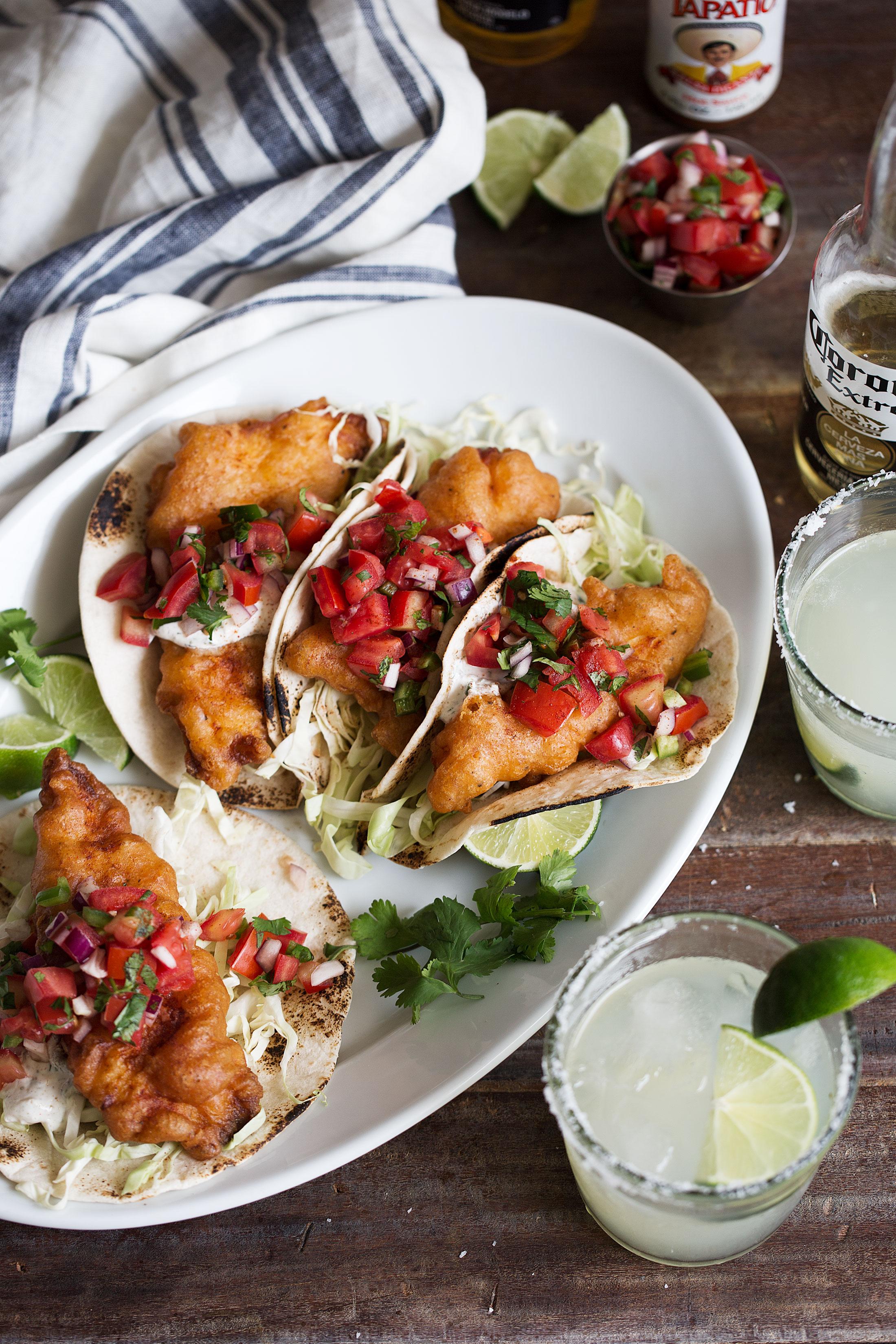 beer battered baja fish tacos with herb yogurt sauce