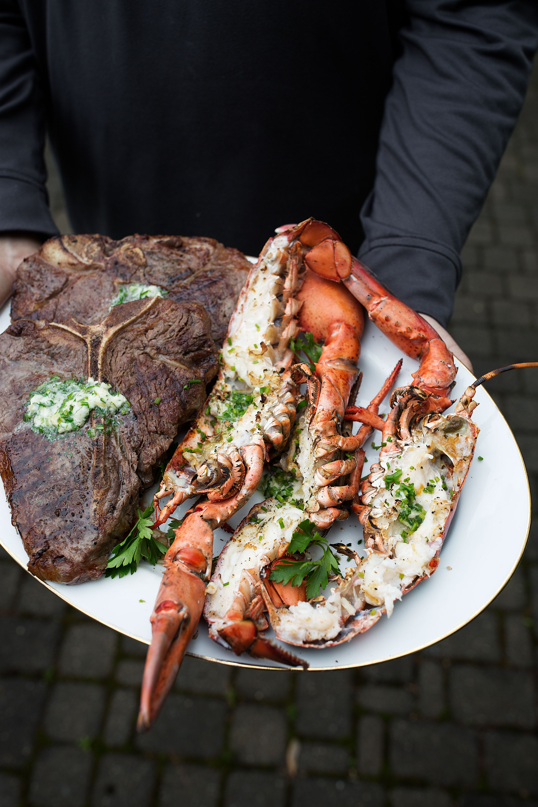 surf and turf with garlic herb butter