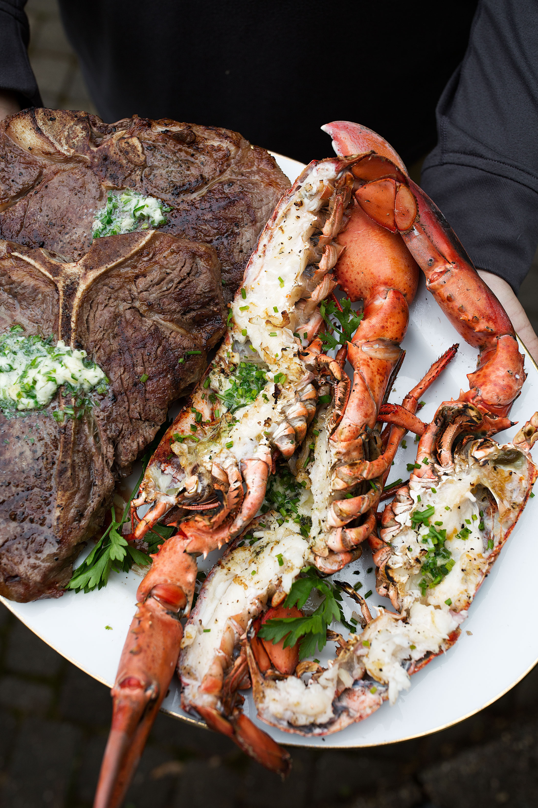 closeup surf and turf with garlic herb butter sous vide steak
