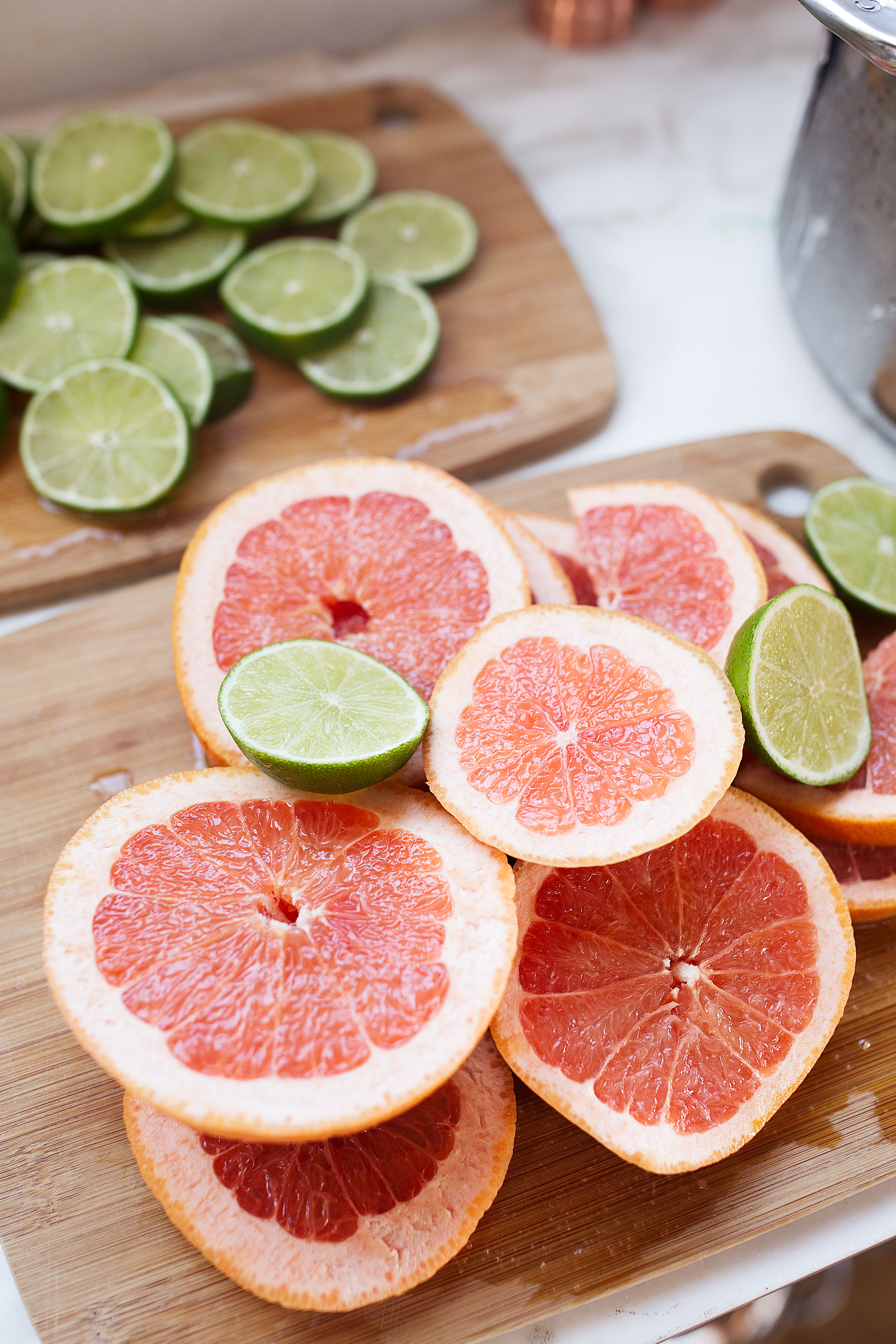 grapefruit and limes cut