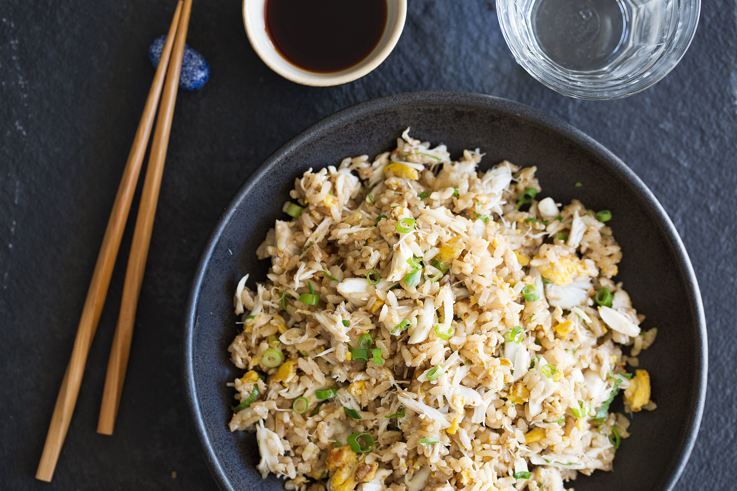 garlic crab fried rice dinner plate