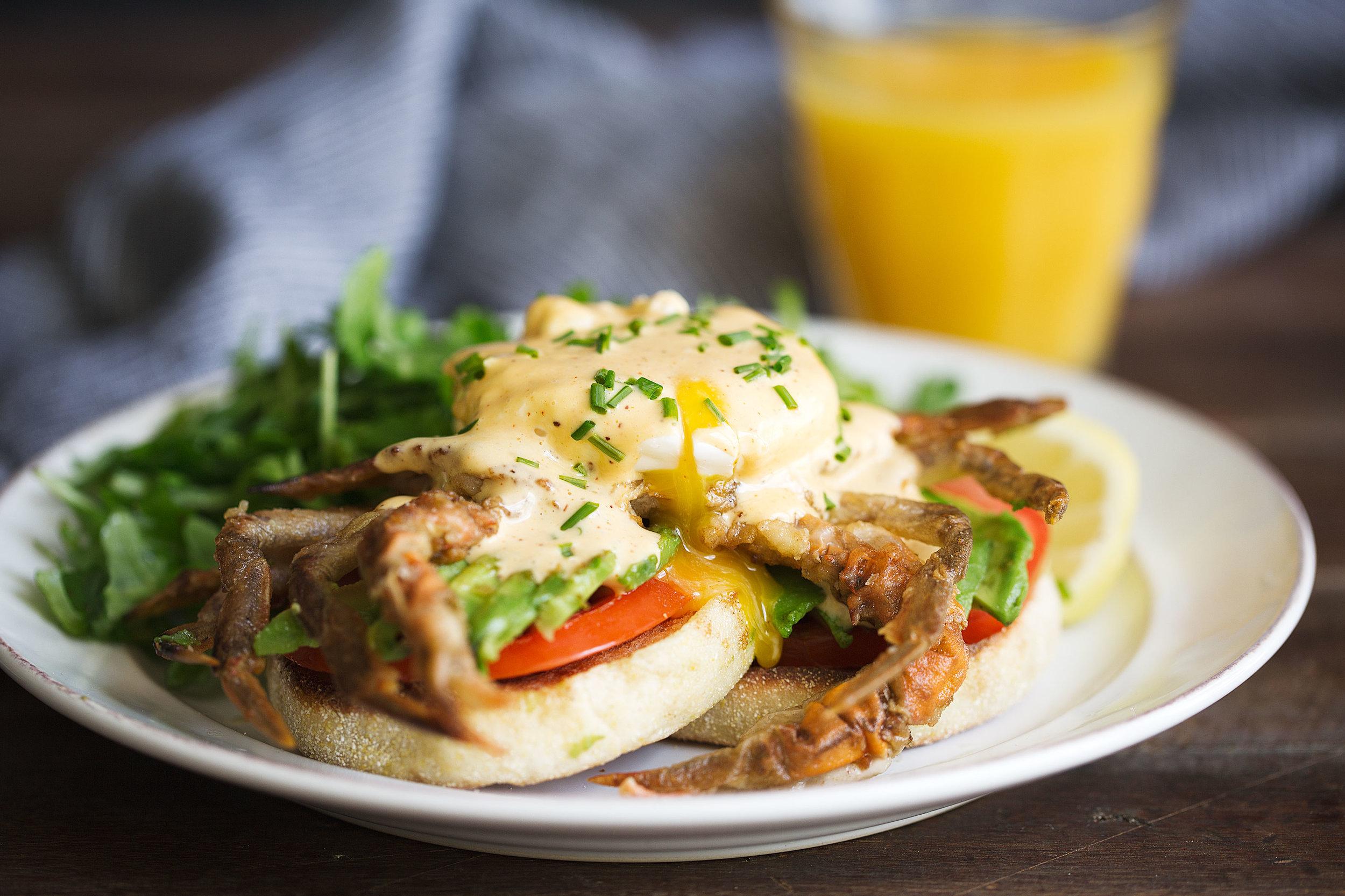 soft shell crab eggs benedict with cajun hollandaise