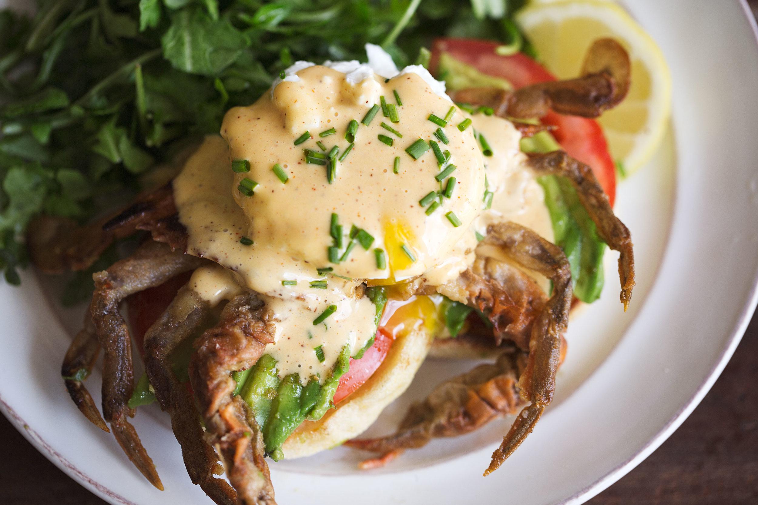 soft shell crab eggs benedict with cajun hollandaise closeup