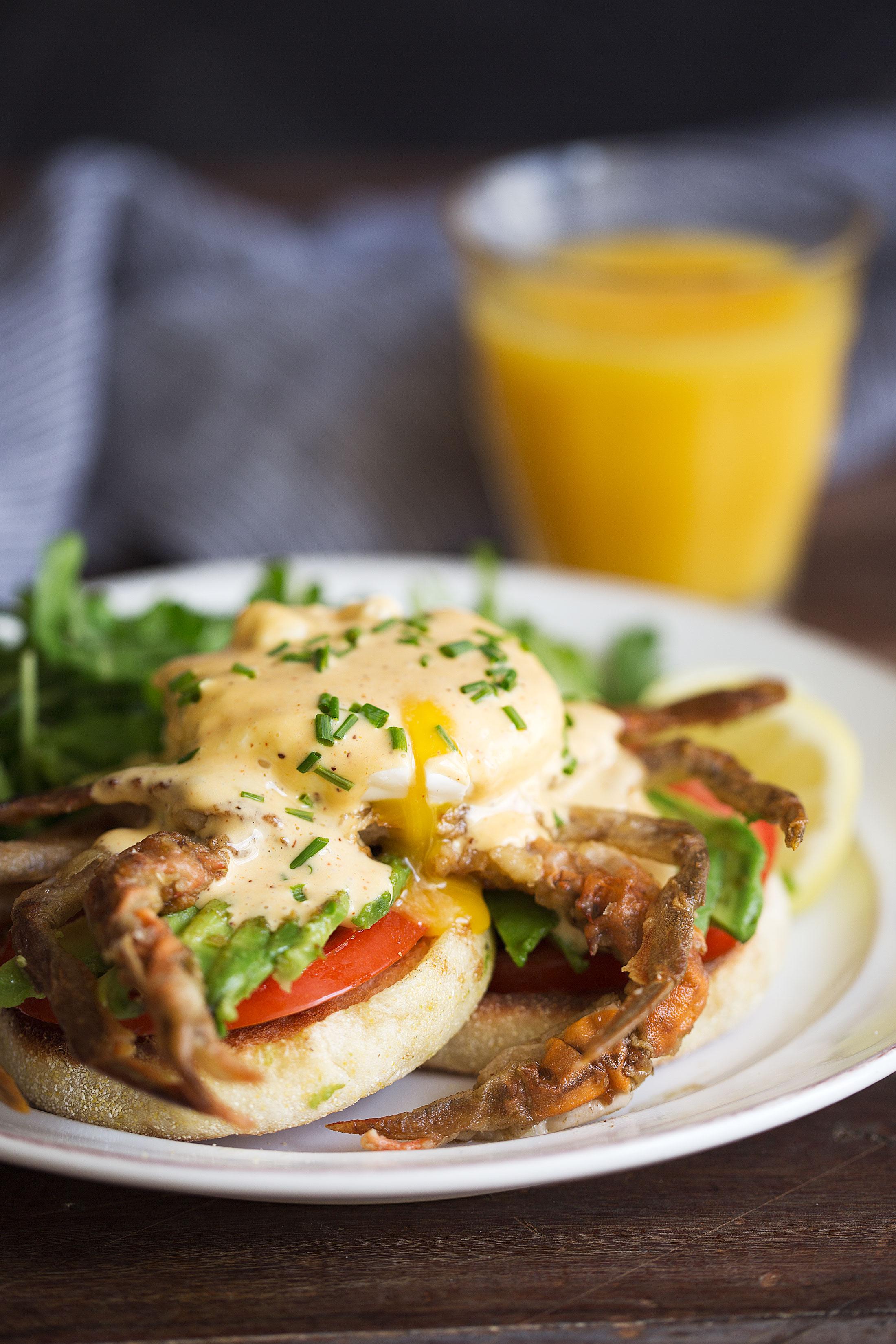 soft-shell crab eggs benedict with cajun hollandaise