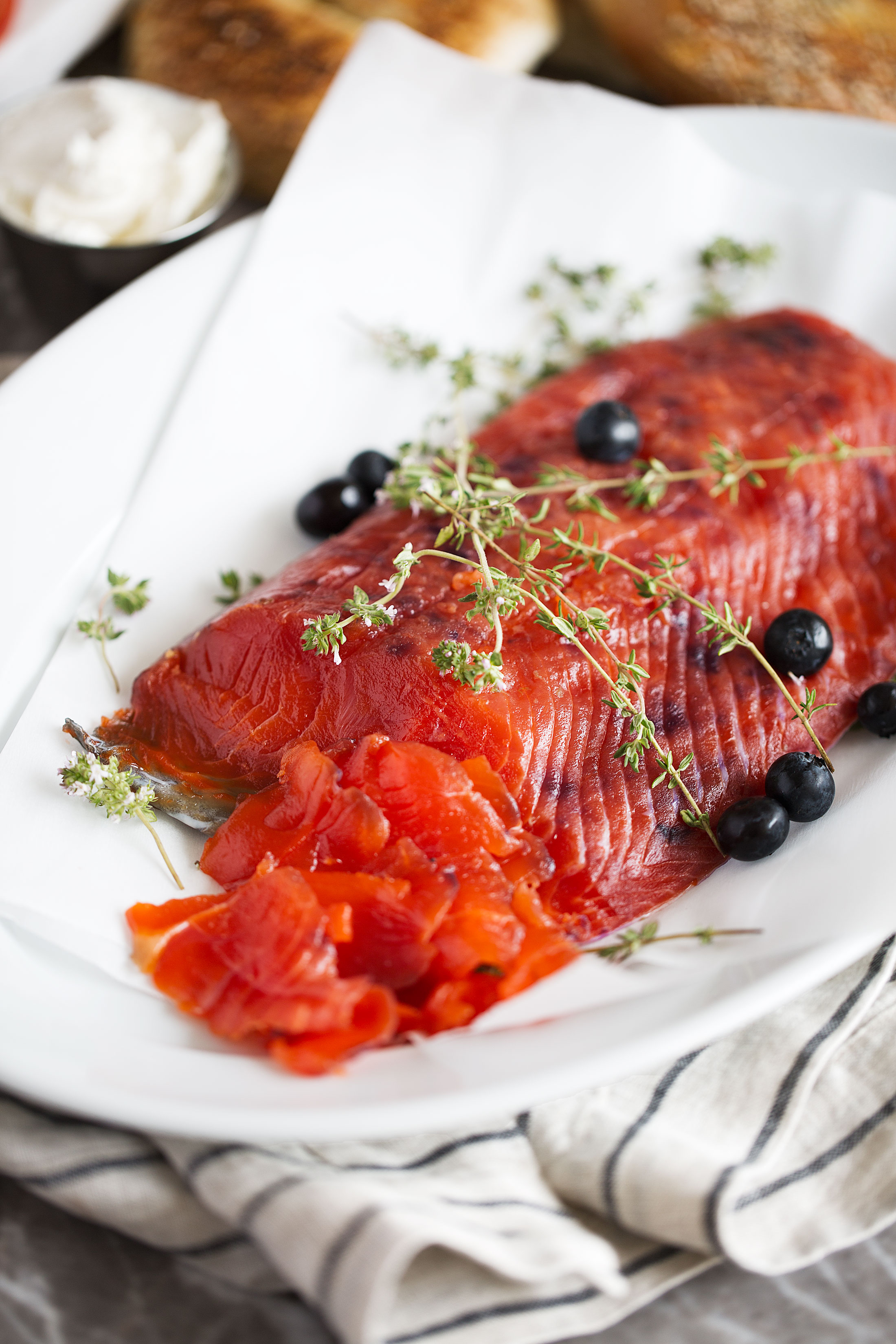 blueberry cured salmon sliced