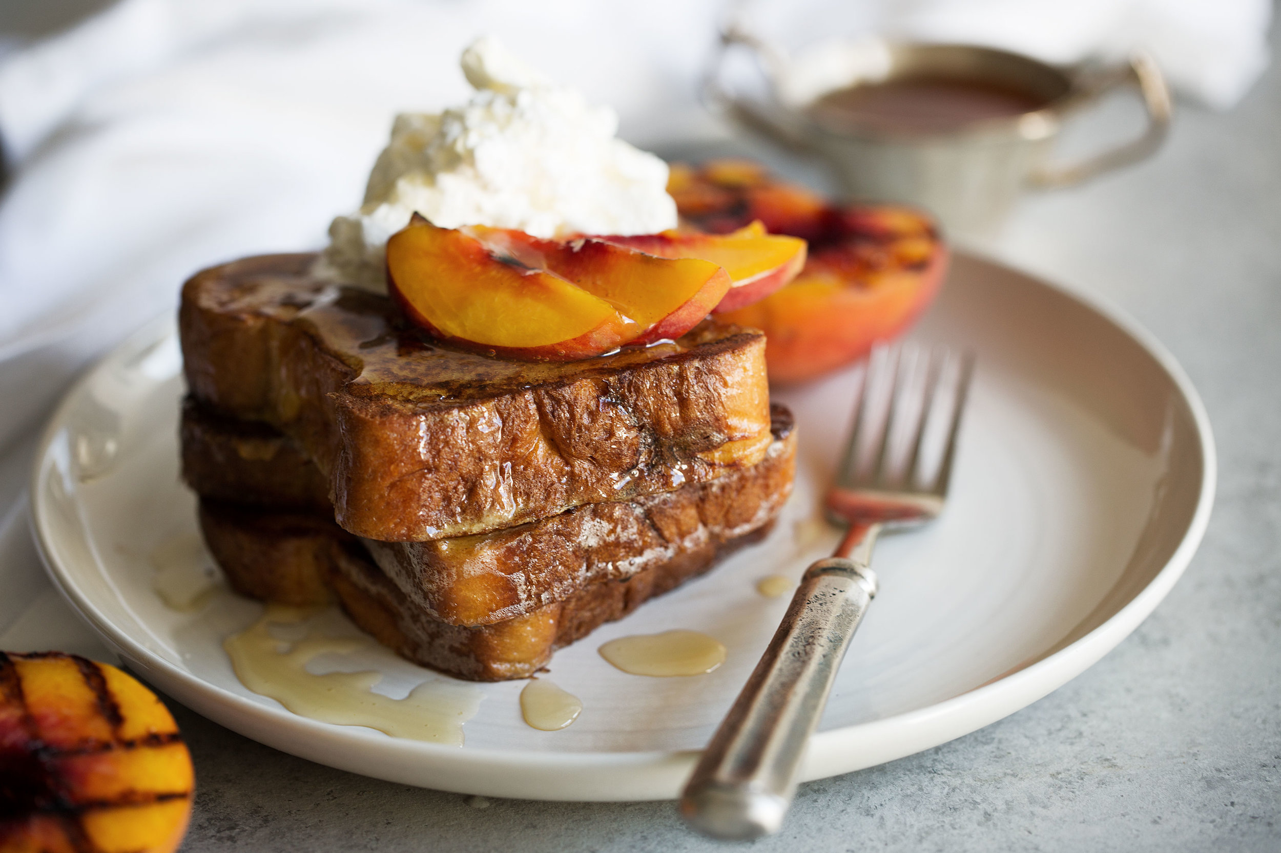 Grilled Peached and Cream Challah French Toast Cooking with Cocktail Rings
