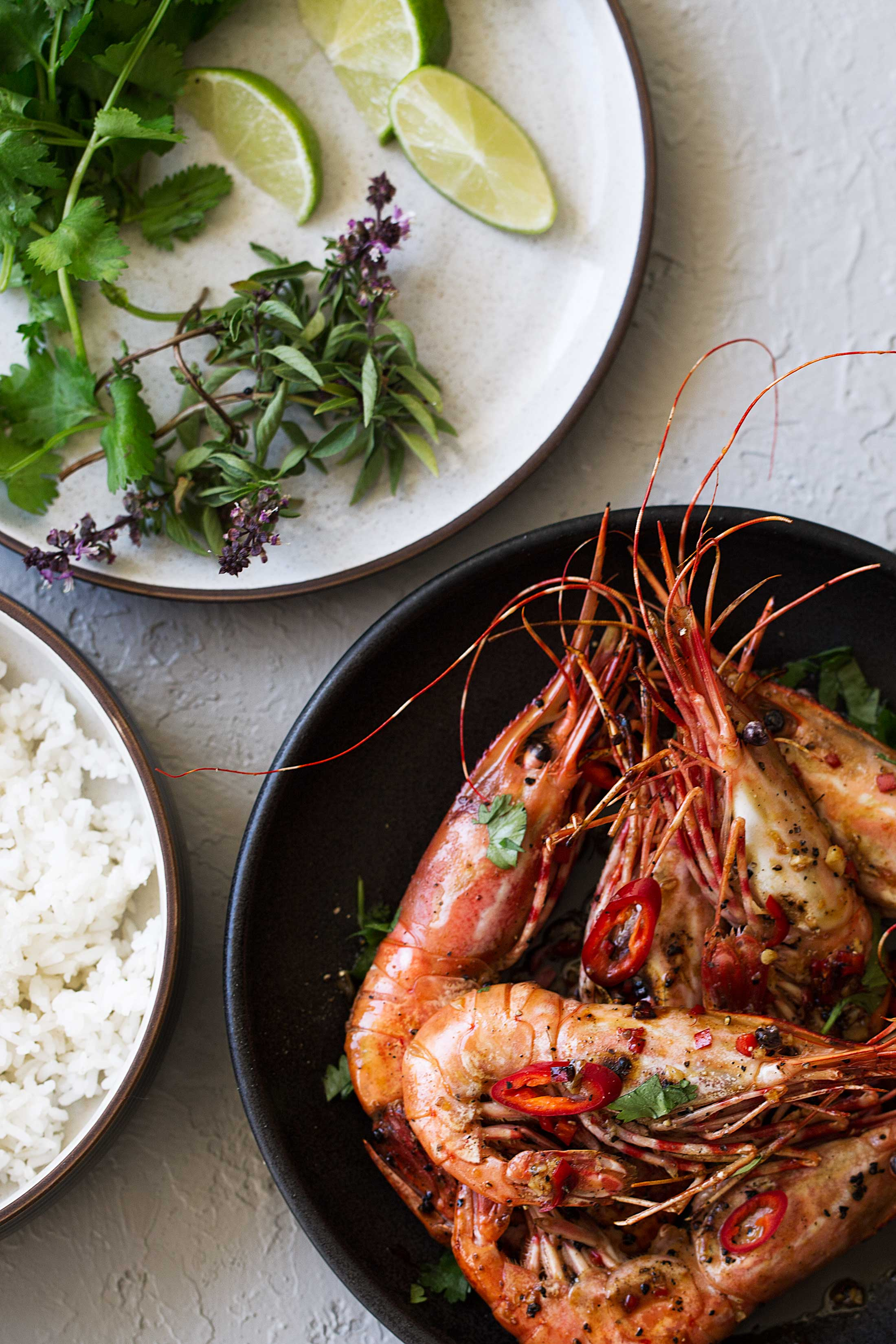 spicy glazed spot prawns served whole cooking with cocktail rings