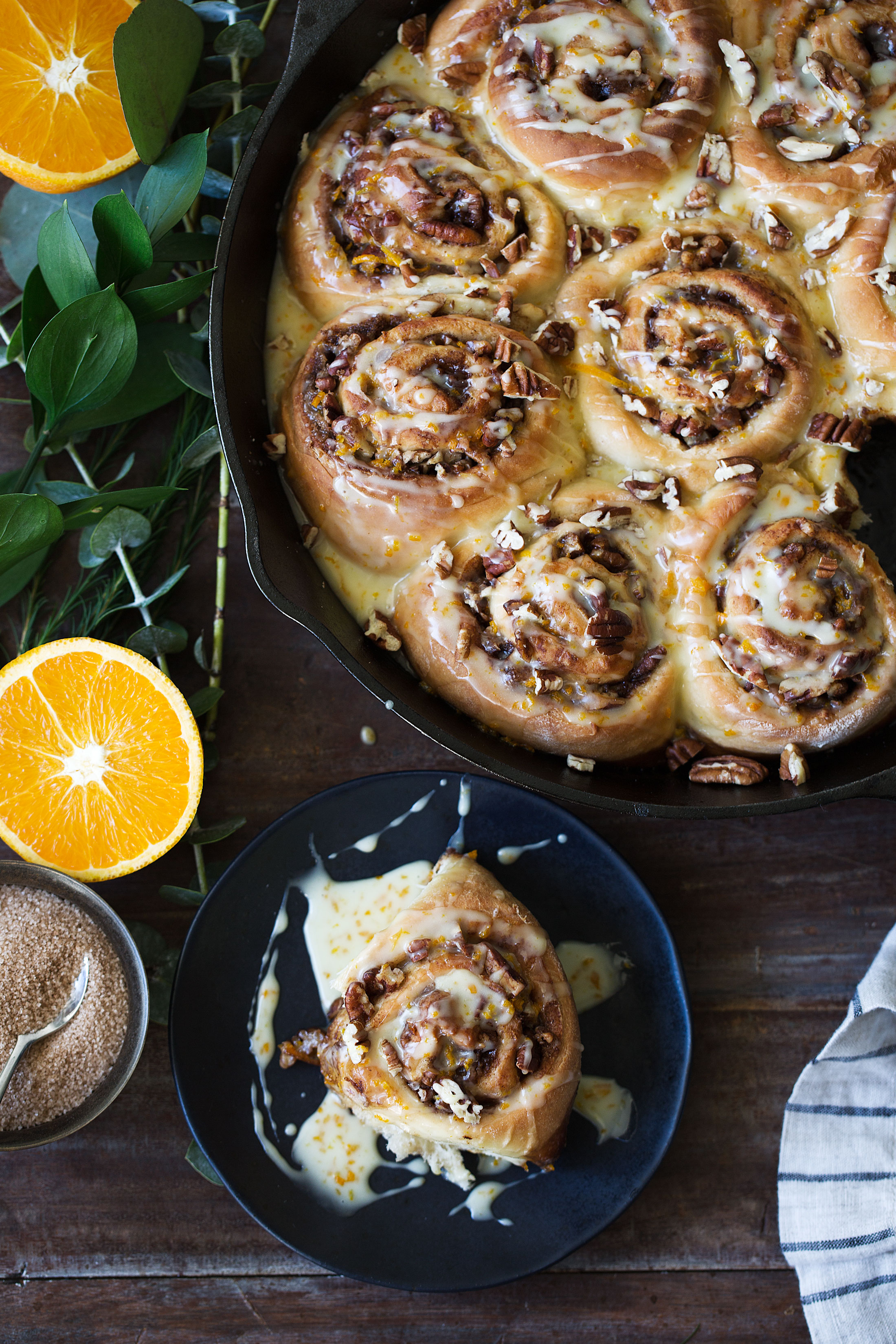 orange pecan sticky buns cooking with cocktail rings