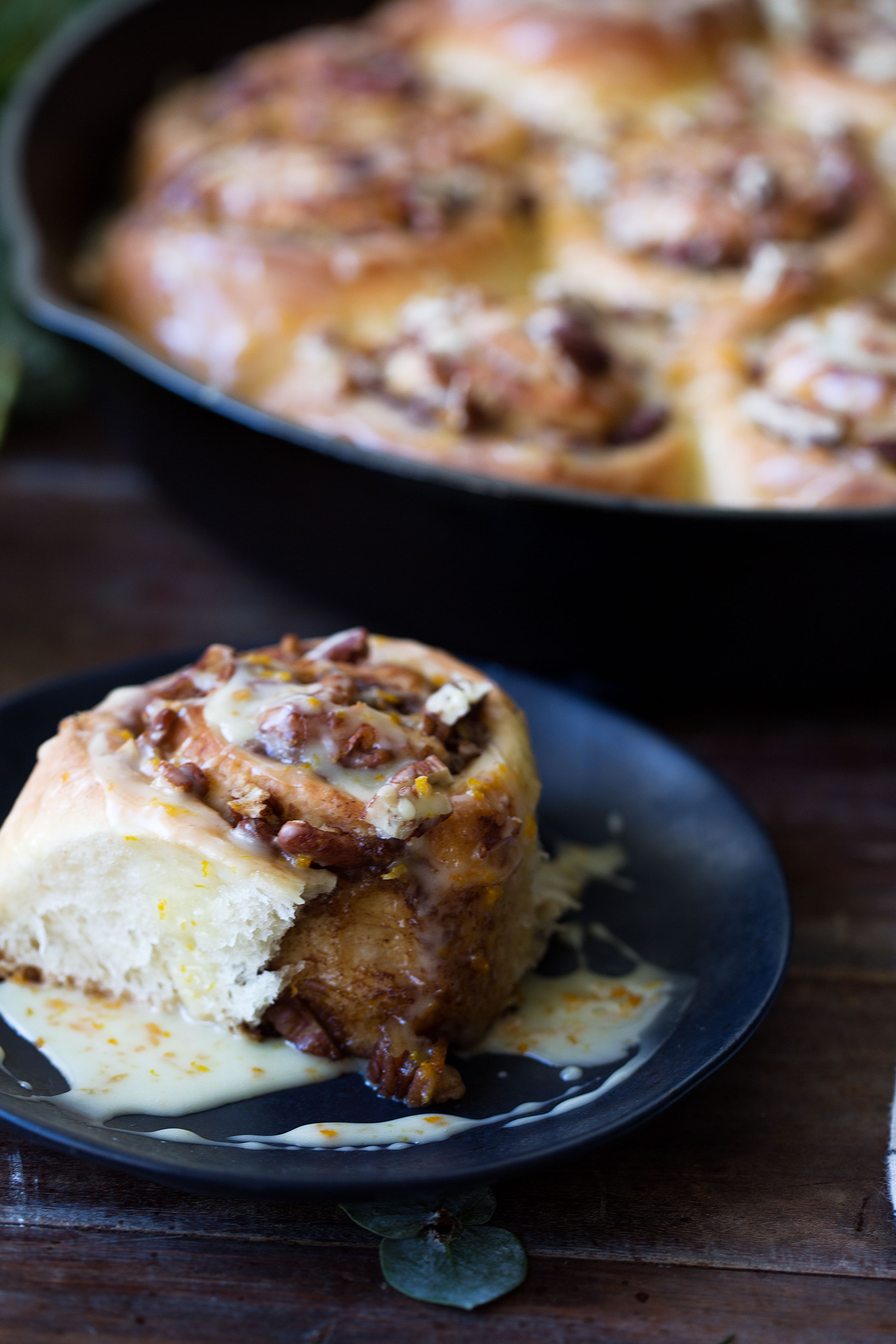 orange pecan sticky buns cooking with cocktail rings closeup