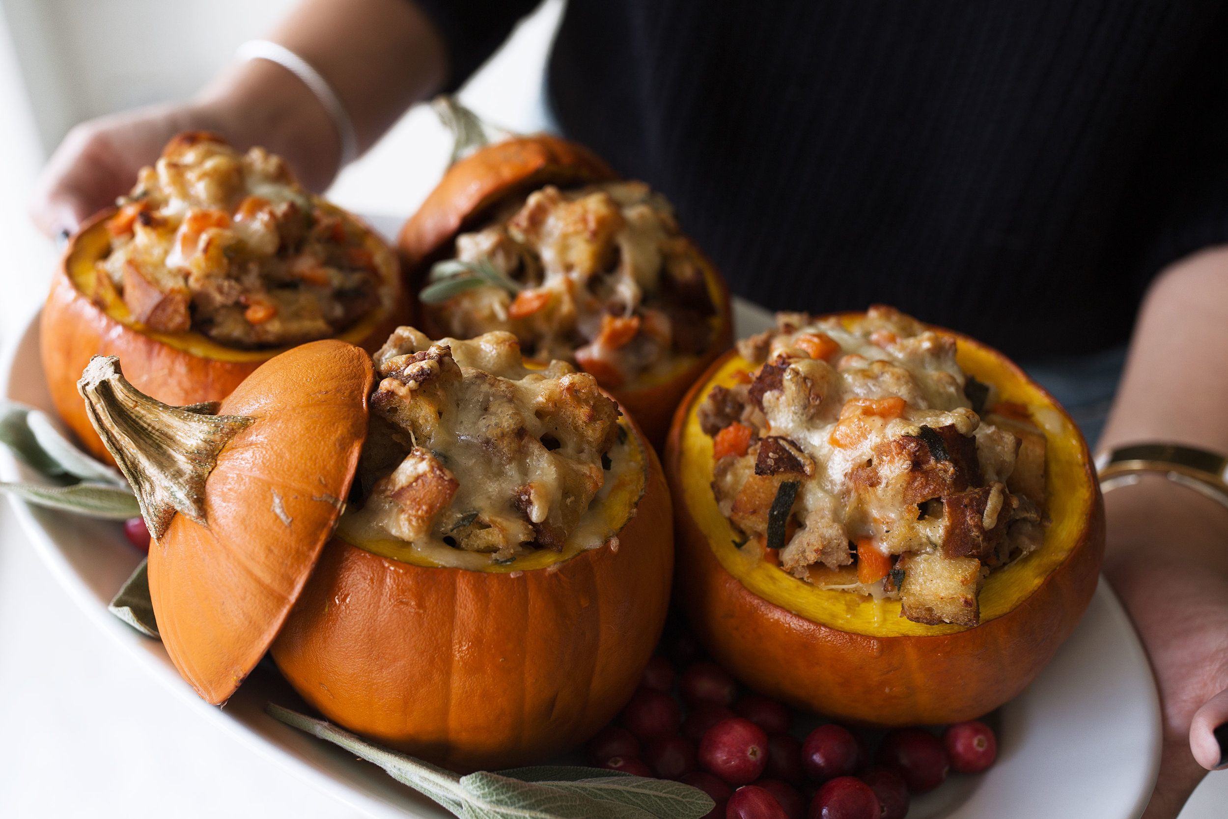 Ground Turkey & Brown Butter Sage Stuffing Filled Roasted Mini Pumpkins