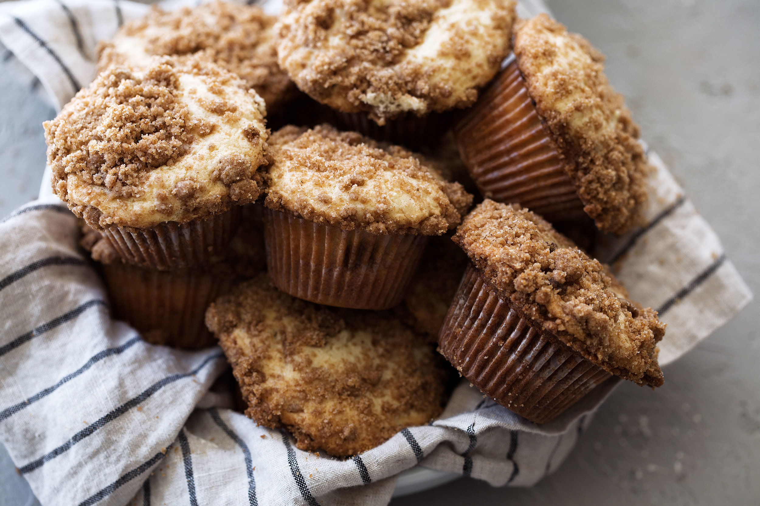 coffee cake streusel muffins from cooking with cocktail rings in basket
