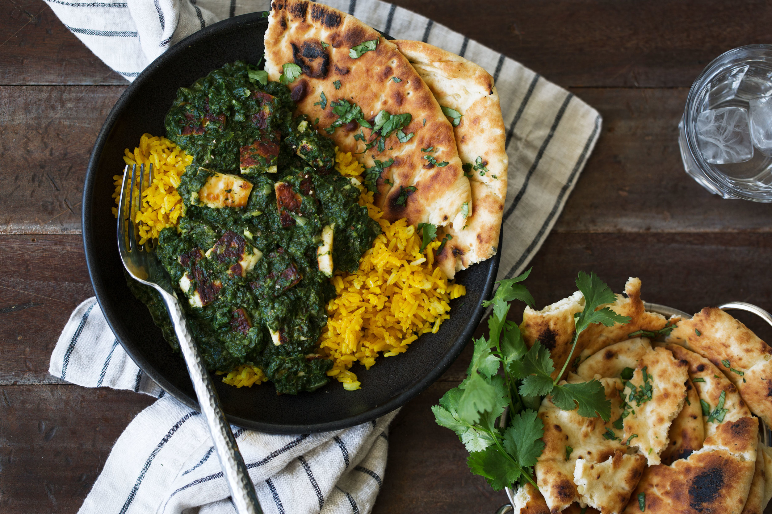 Saag Paneer over Turmeric Rice recipe from cooking with cocktail rings