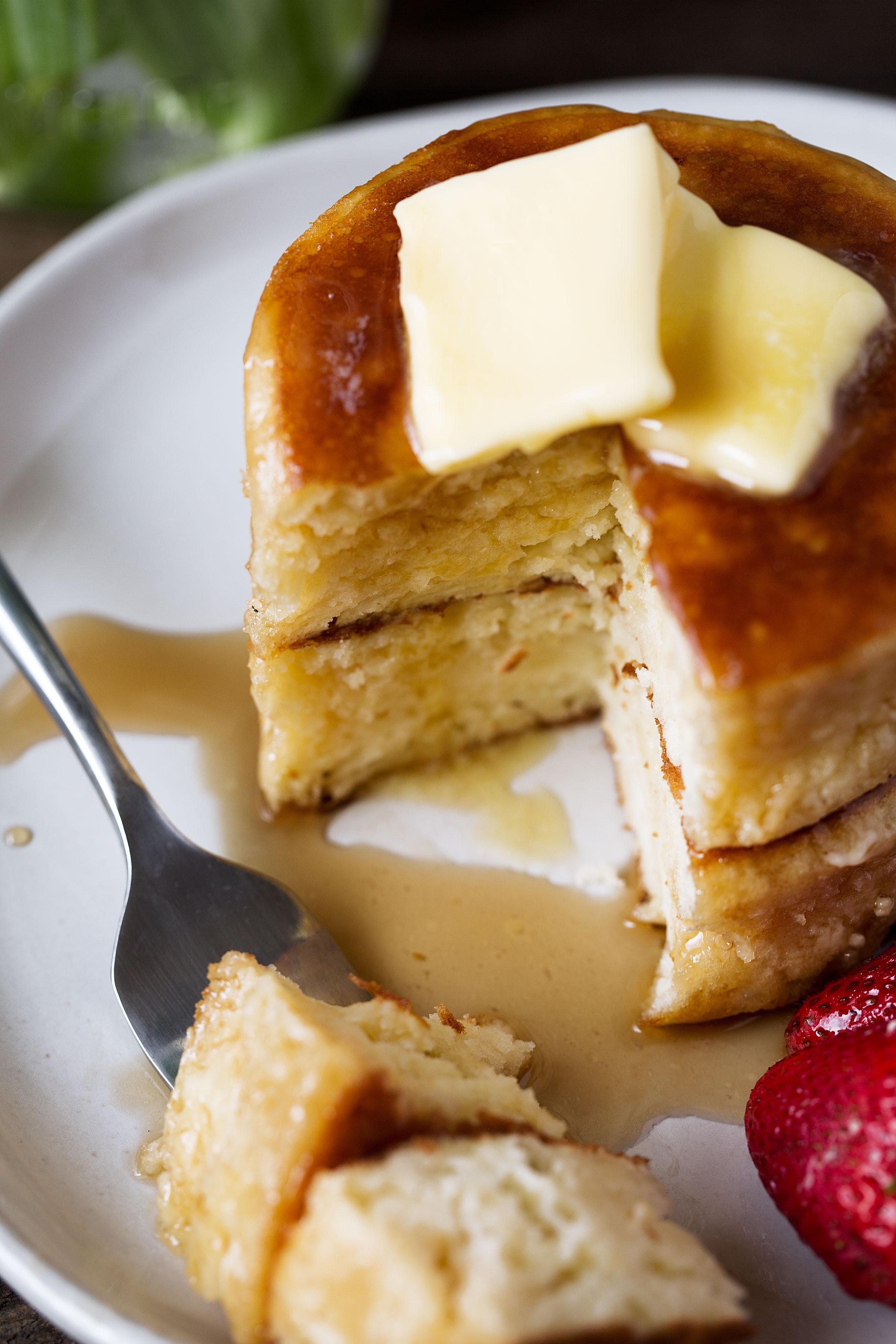 Japanese-style Soufflé Pancakes cut