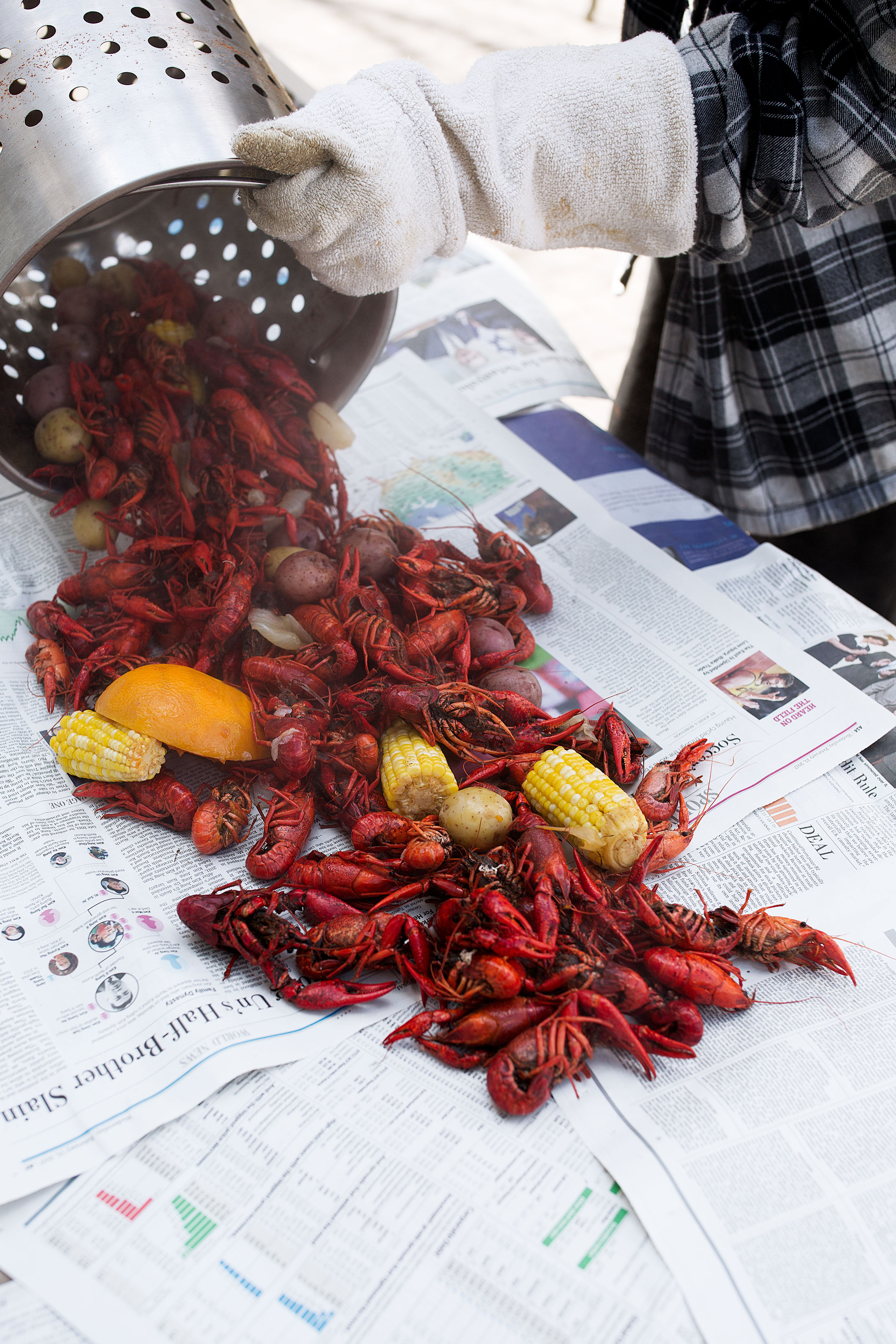 pouring out crawfish onto table