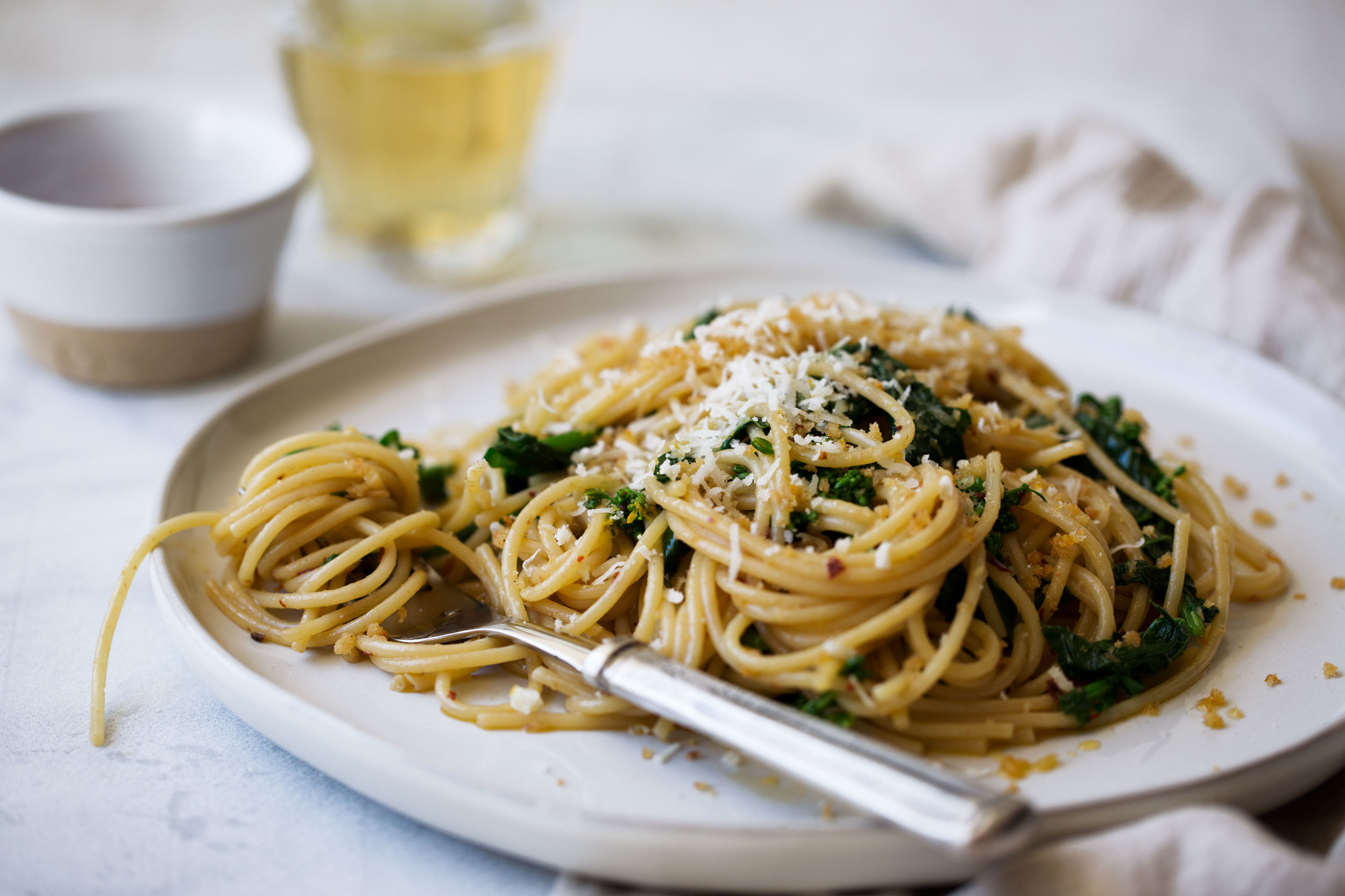 spaghetti with rapini, anchovy and chili oil topped with lemon breadcrumbs recipe from cooking with cocktail rings