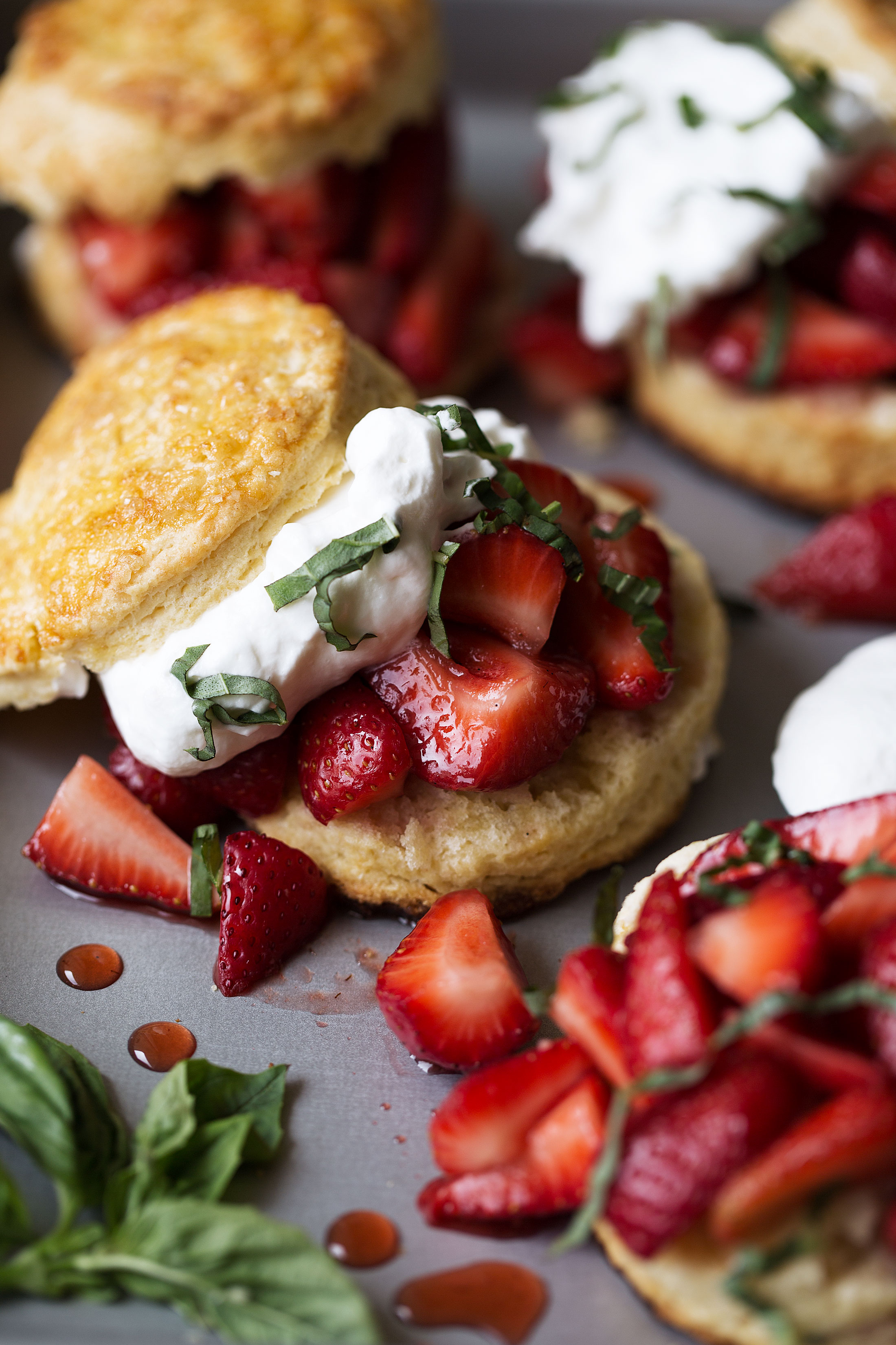 strawberry balsamic shortcake with basil closeup recipe from cooking with cocktail rings