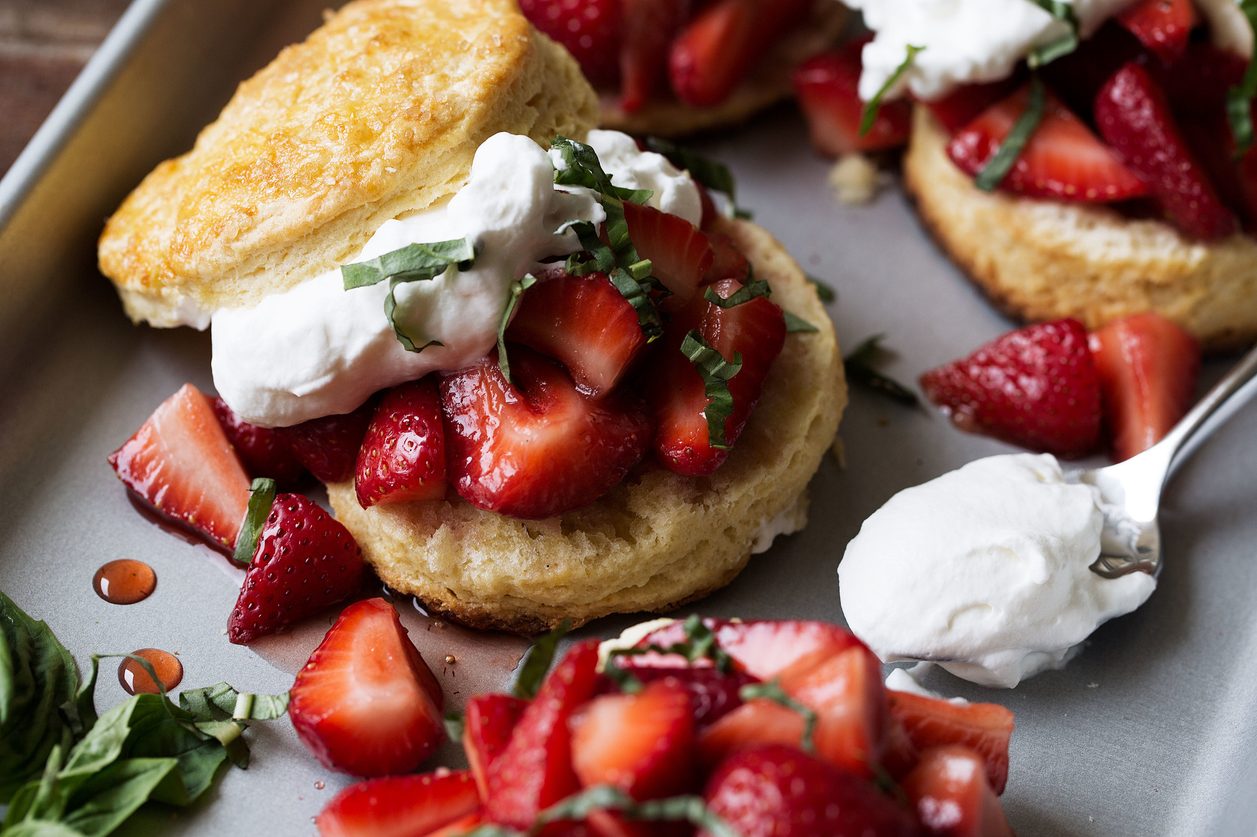 strawberry balsamic shortcake with basil recipe from cooking with cocktail rings