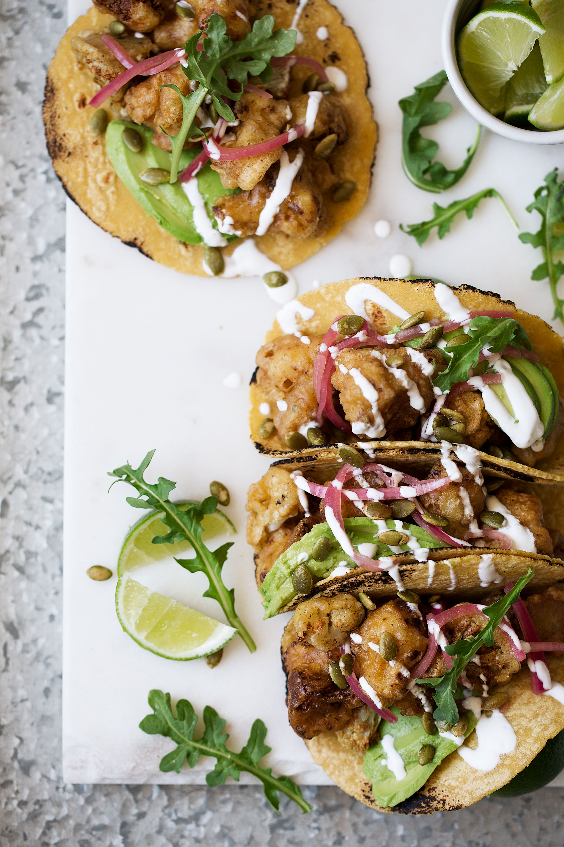 roasted cauliflower and avocado tacos recipe from cooking with cocktail rings