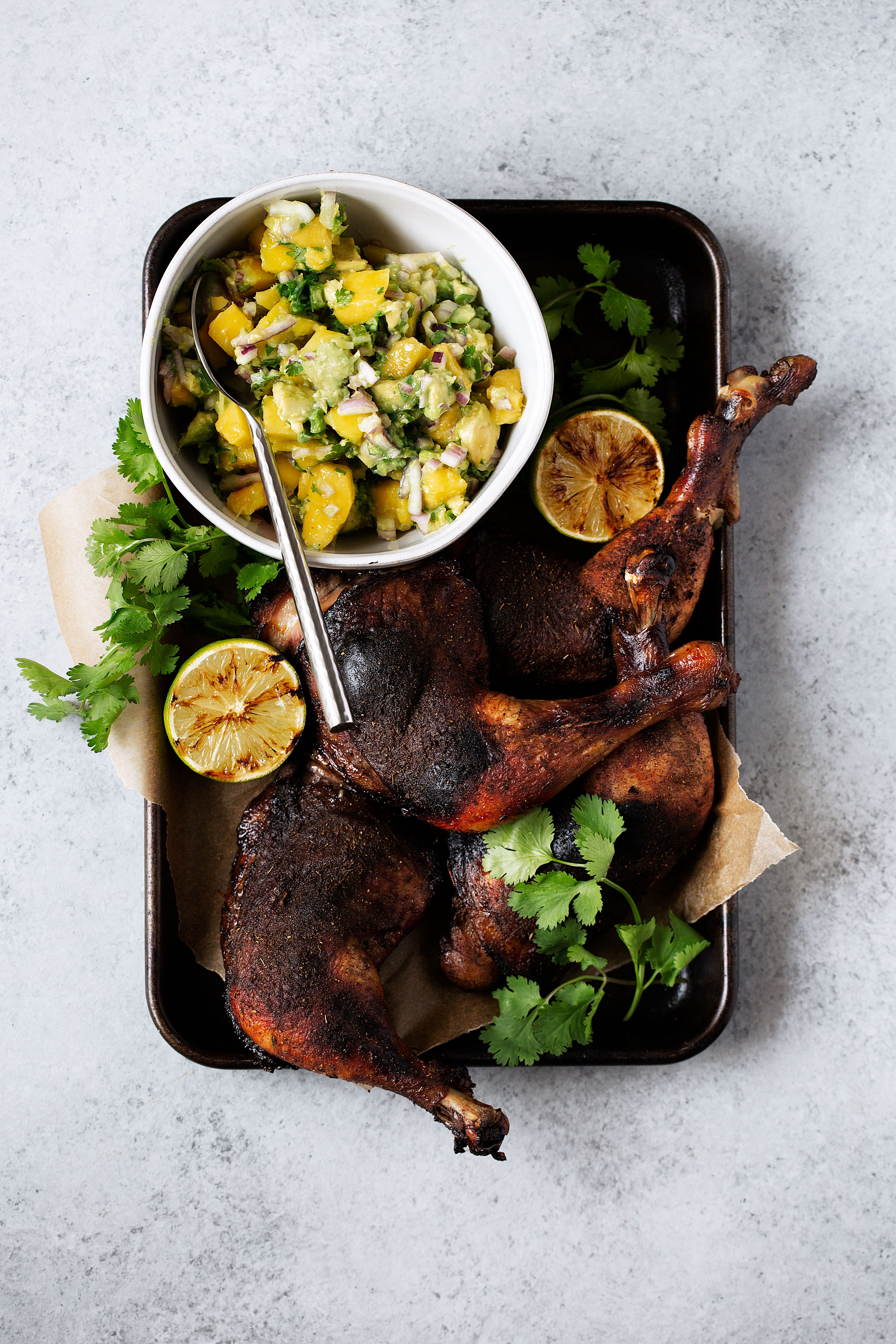 roast jerk chicken with mango avocado salsa recipe from cooking with cocktail rings