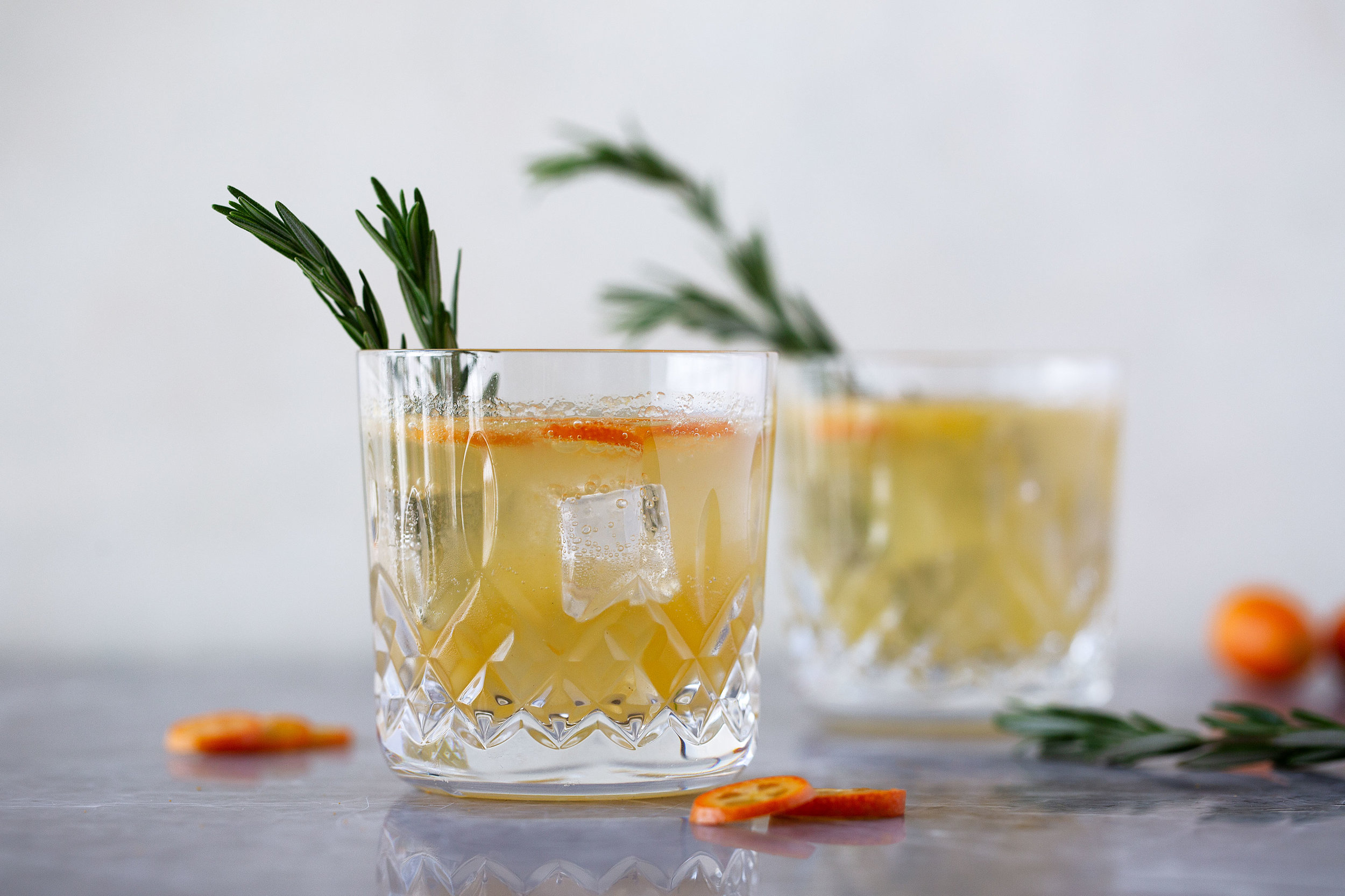 rosemary kumquat gin fizz cocktail recipe from cooking with cocktail rings