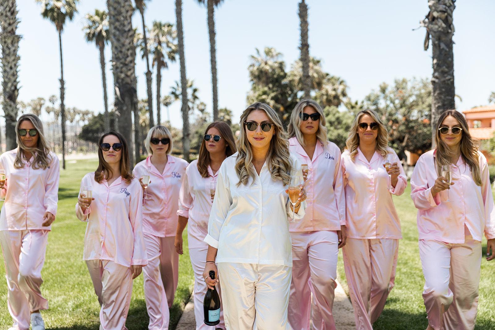 bridesmaids in pajamas santa barbara walking