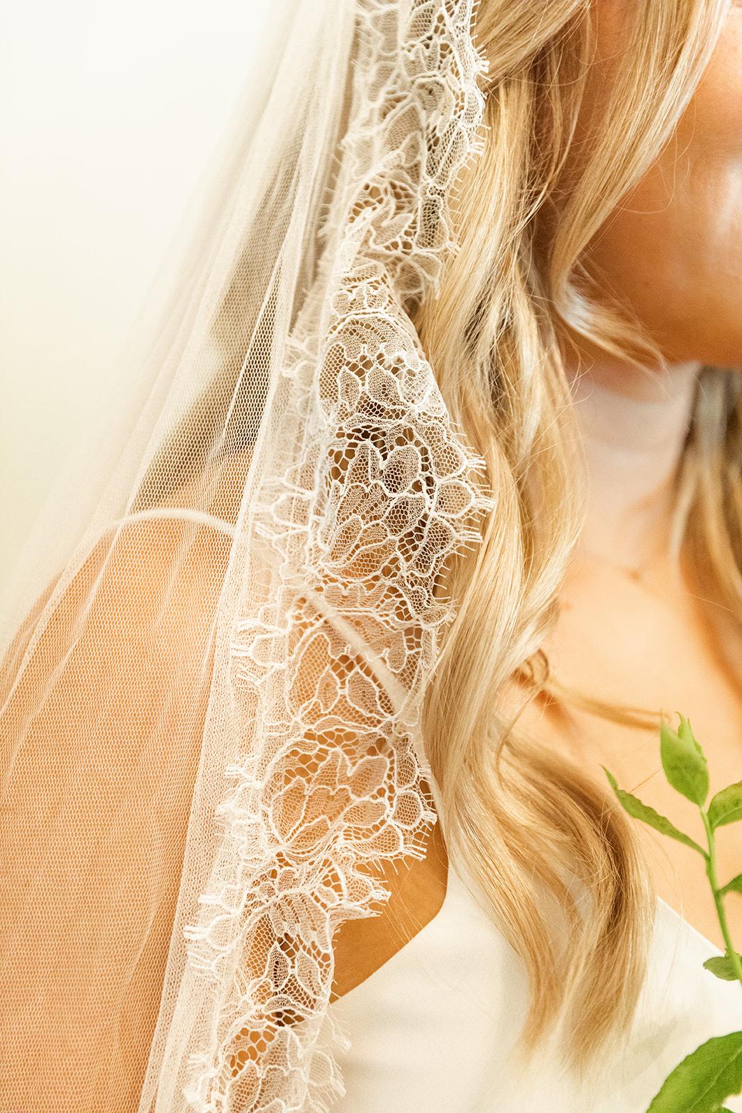closeup wedding veil
