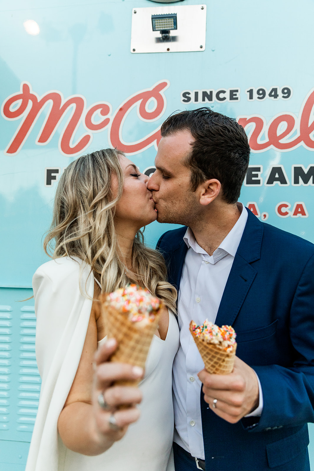 kylie and aaron wedding santa barbara cooking with cocktail rings ice cream