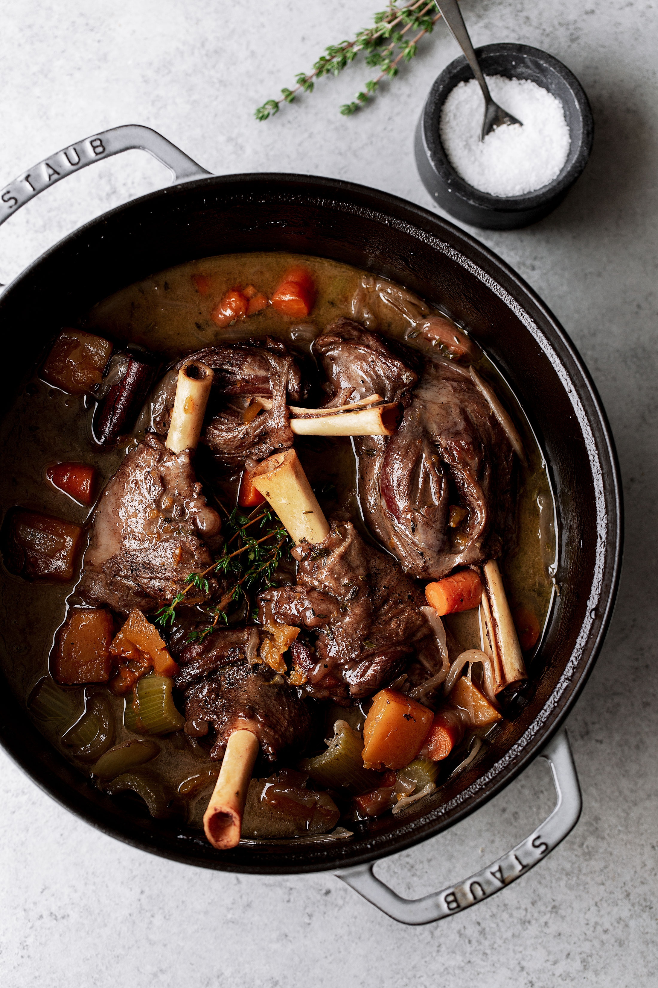 Red Wine Braised Lamb Shanks with Butternut Squash in pot recipe from cooking with cocktail rings