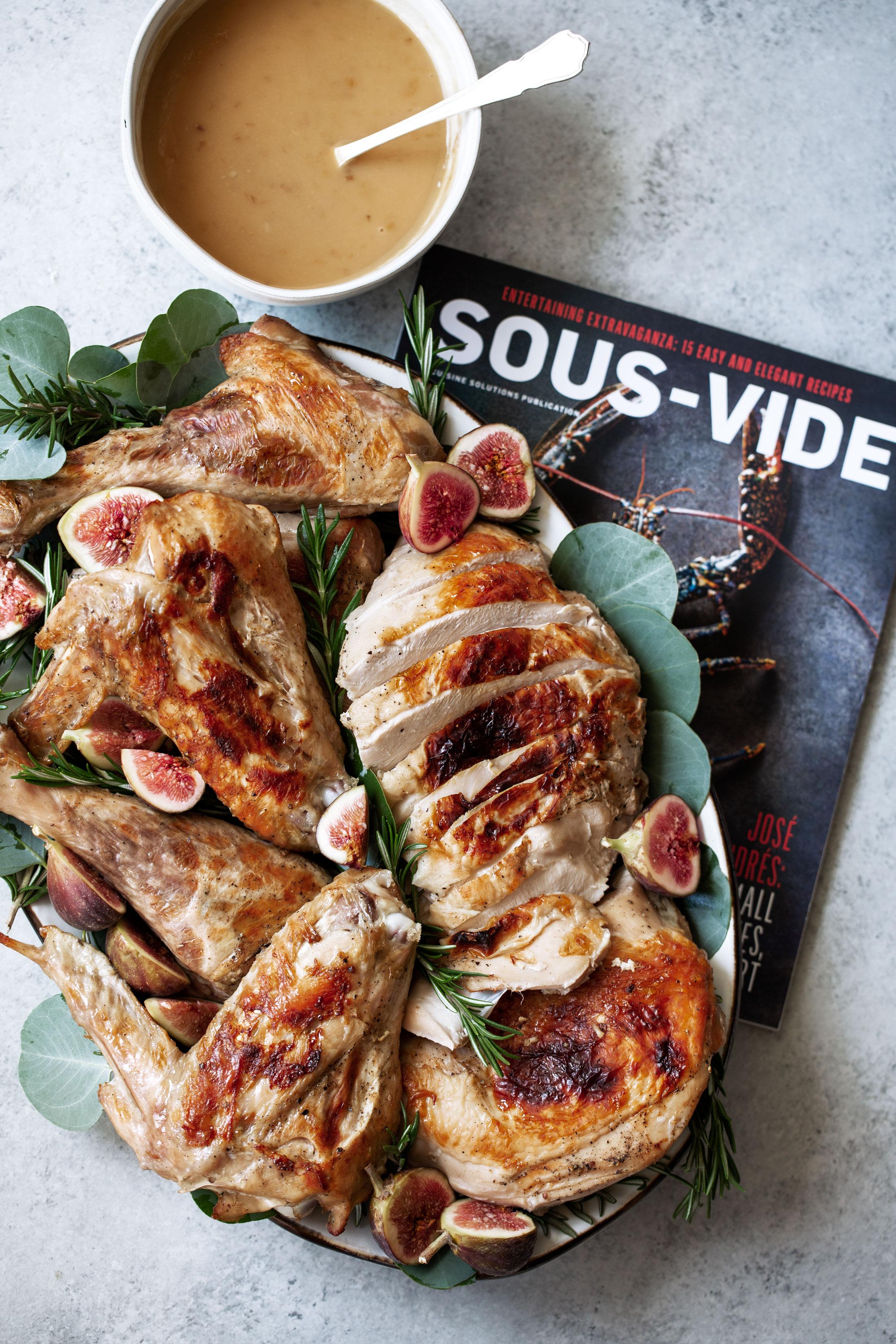 Lemon Rosemary Sous-Vide Turkey with White Wine Gravy recipe from sous-vide magazine