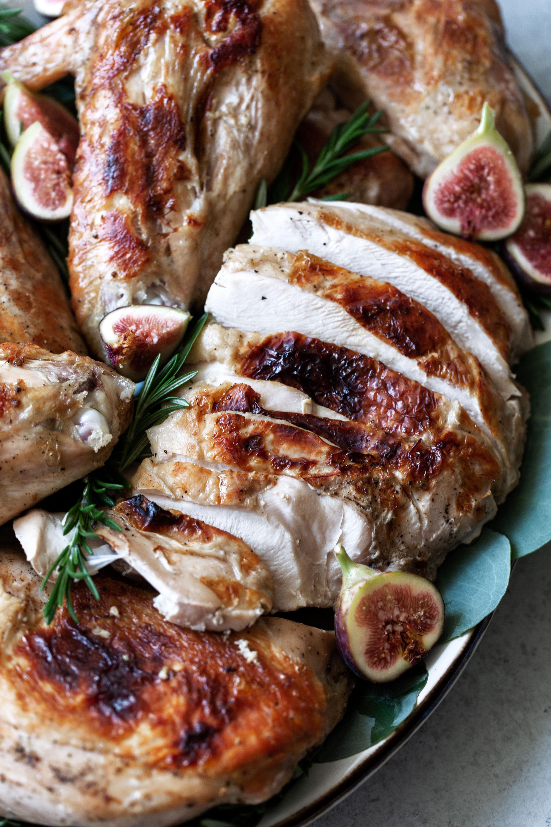 Lemon Rosemary Sous-Vide Turkey with White Wine Gravy recipe from sous-vide magazine closeup
