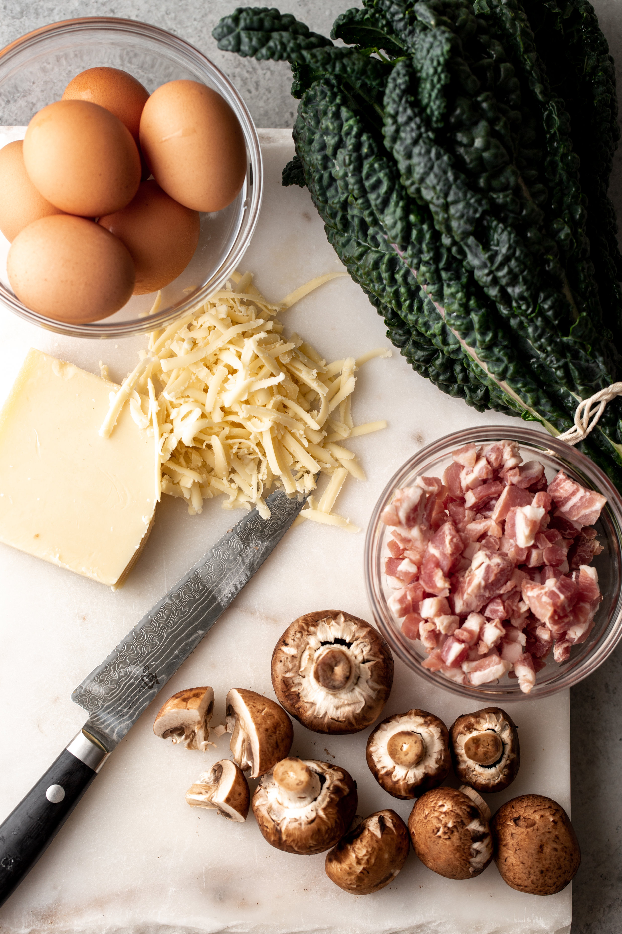 ingredients Cheesy Mushroom and Kale Brioche Strata with Pancetta