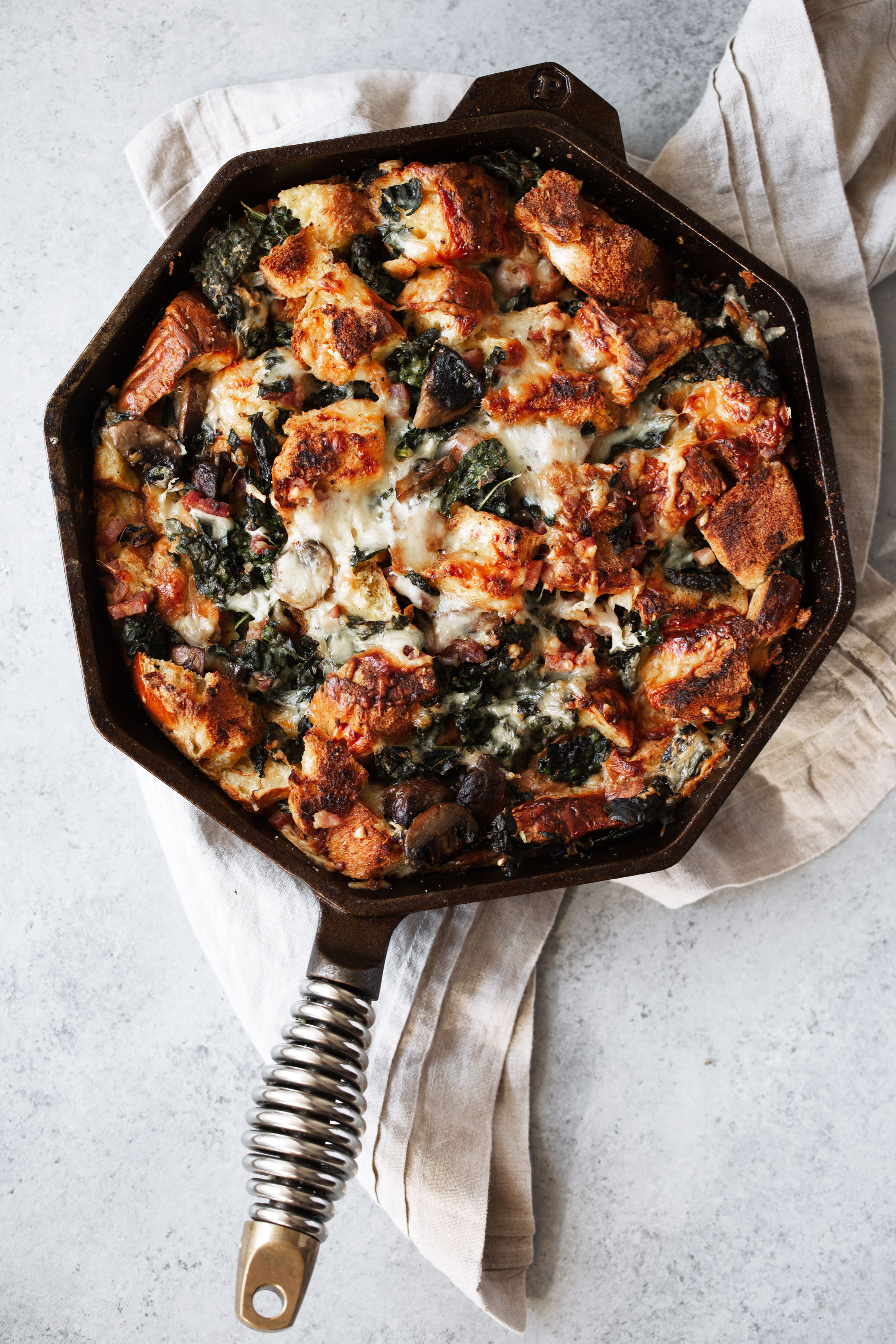 Cheesy Mushroom and Kale Brioche Strata with Pancetta stuffing