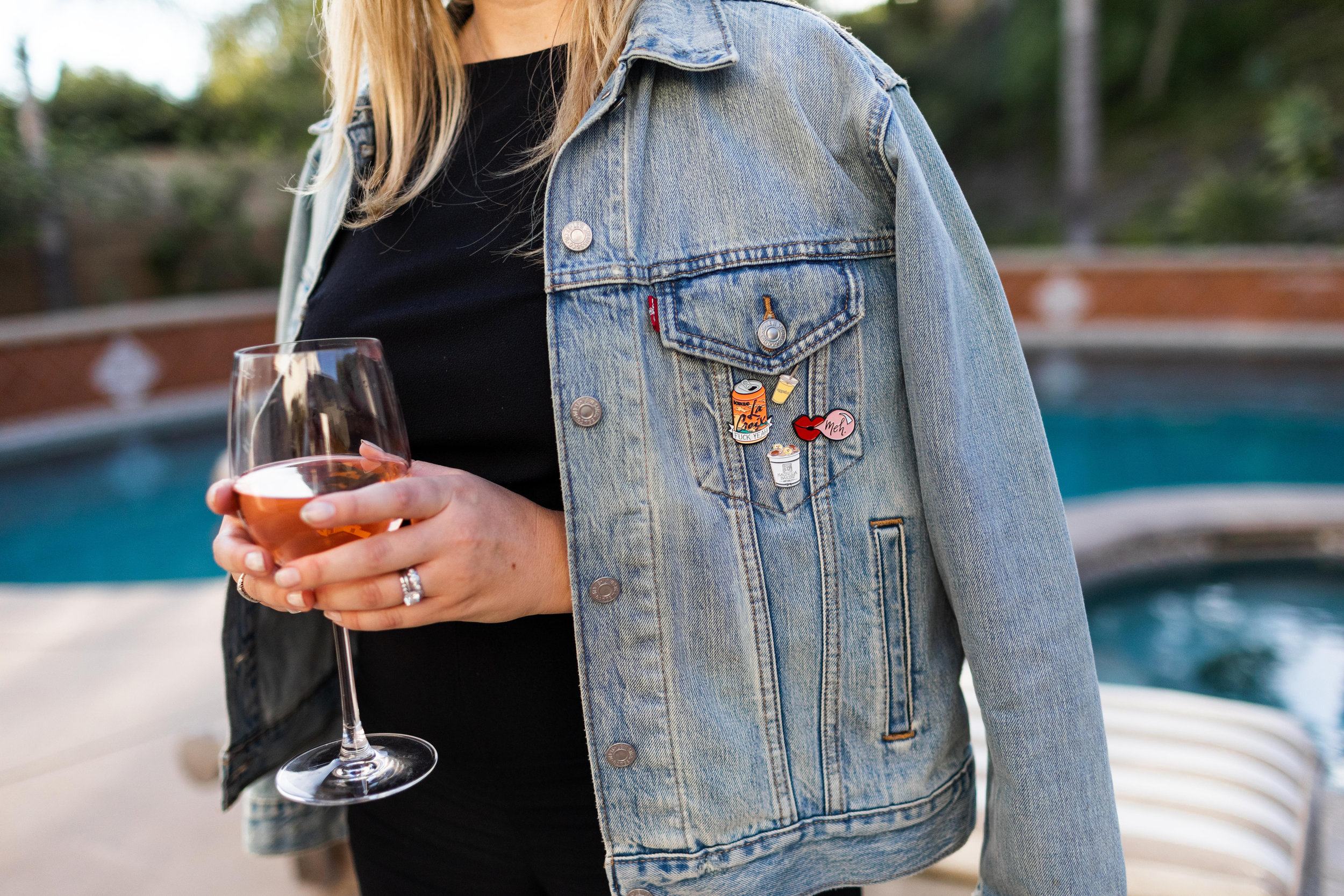 wine by the pool mallory holcomb cooking with cocktail rings jean jacket pins