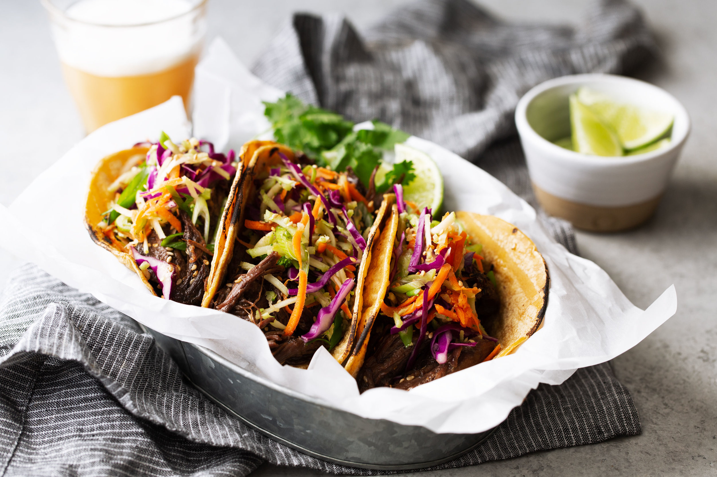 Braised Korean BBQ Beef Tacos recipe from cooking with cocktailrings