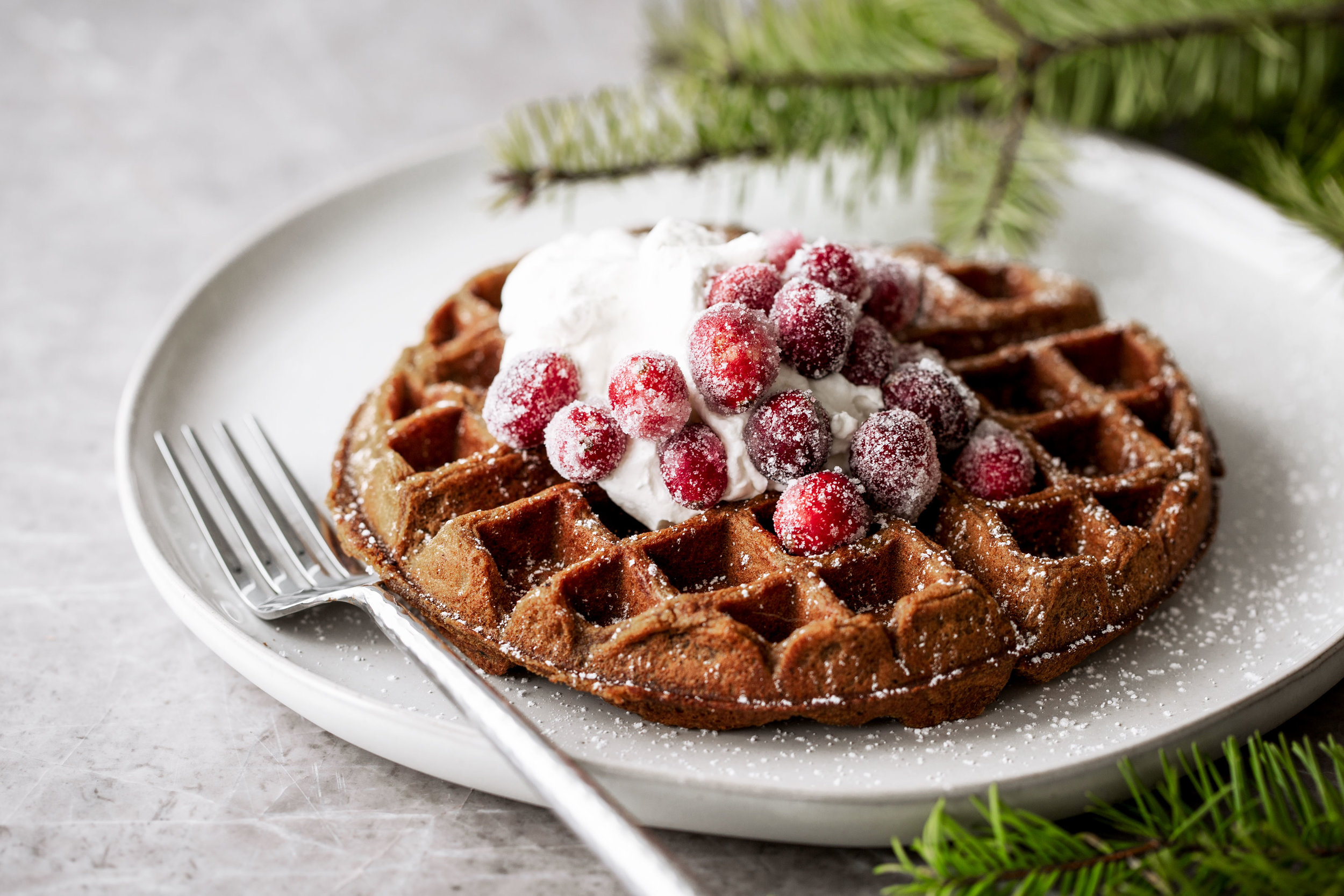 gingerbread waffles with sugared cranberries recipe from cooking with cocktail rings