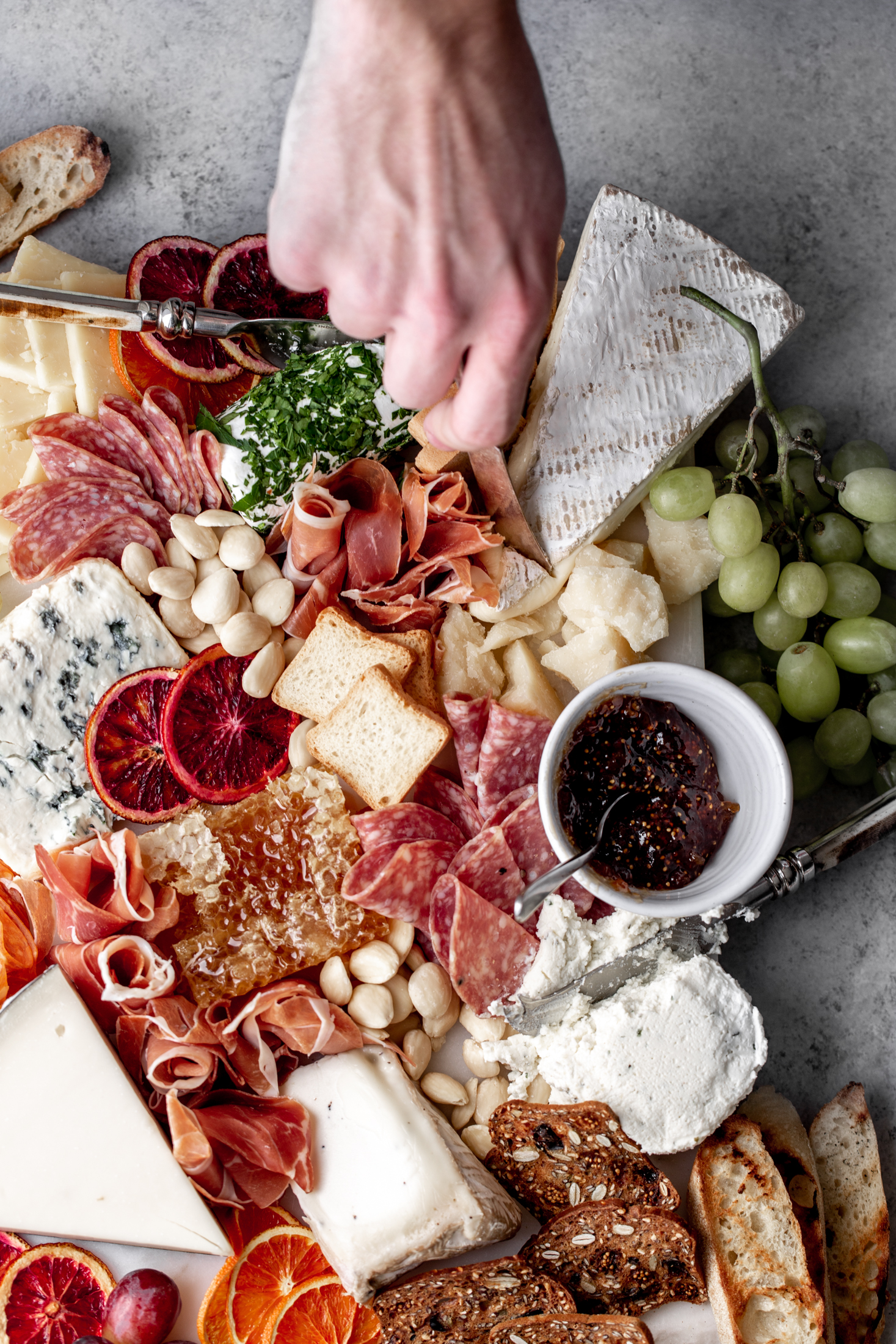 cheese and charcuterie spread from cooking with cocktail rings